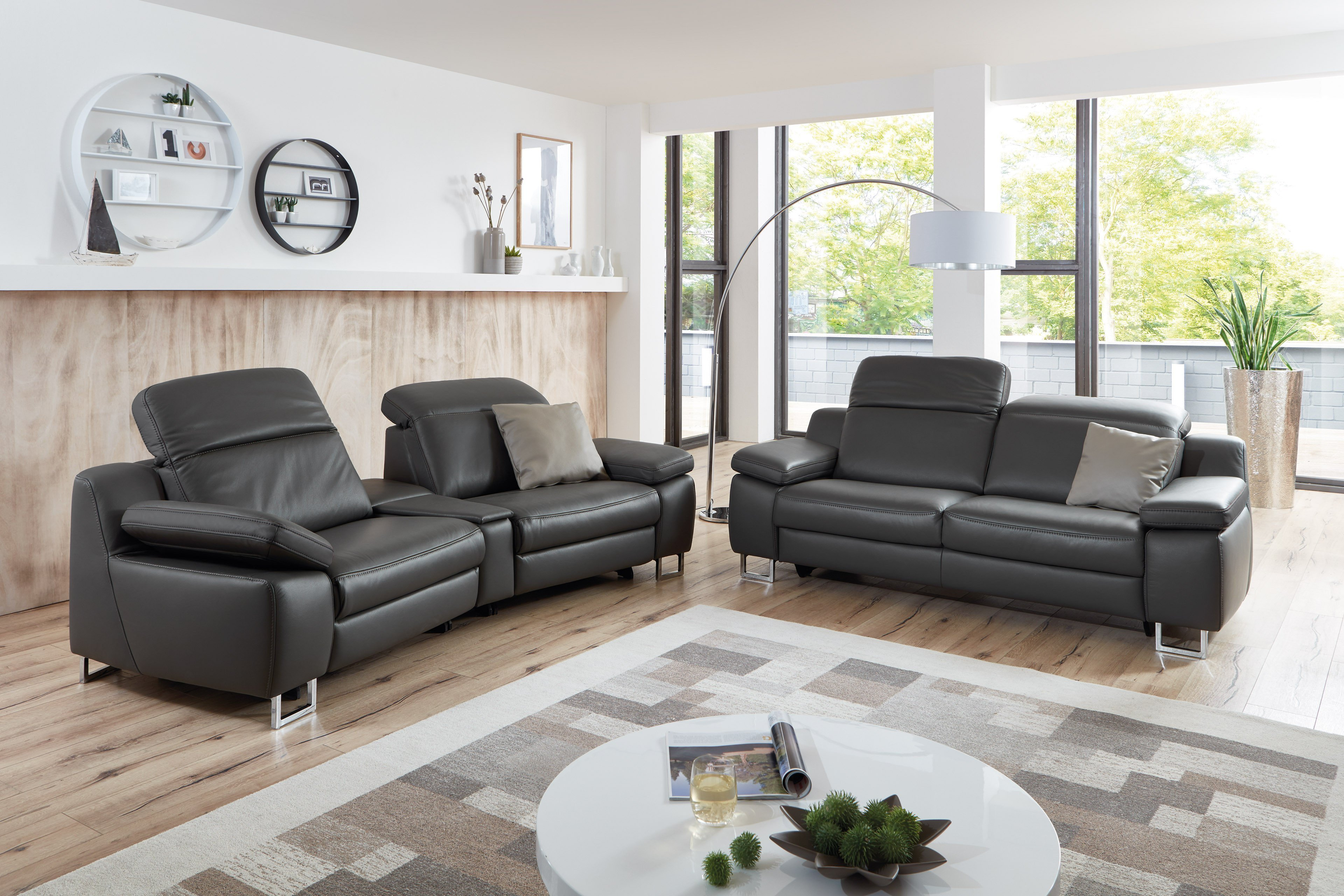 Hukla Rl1650 Ledergarnitur In Dunkelgrau Mobel Letz Ihr Online Shop