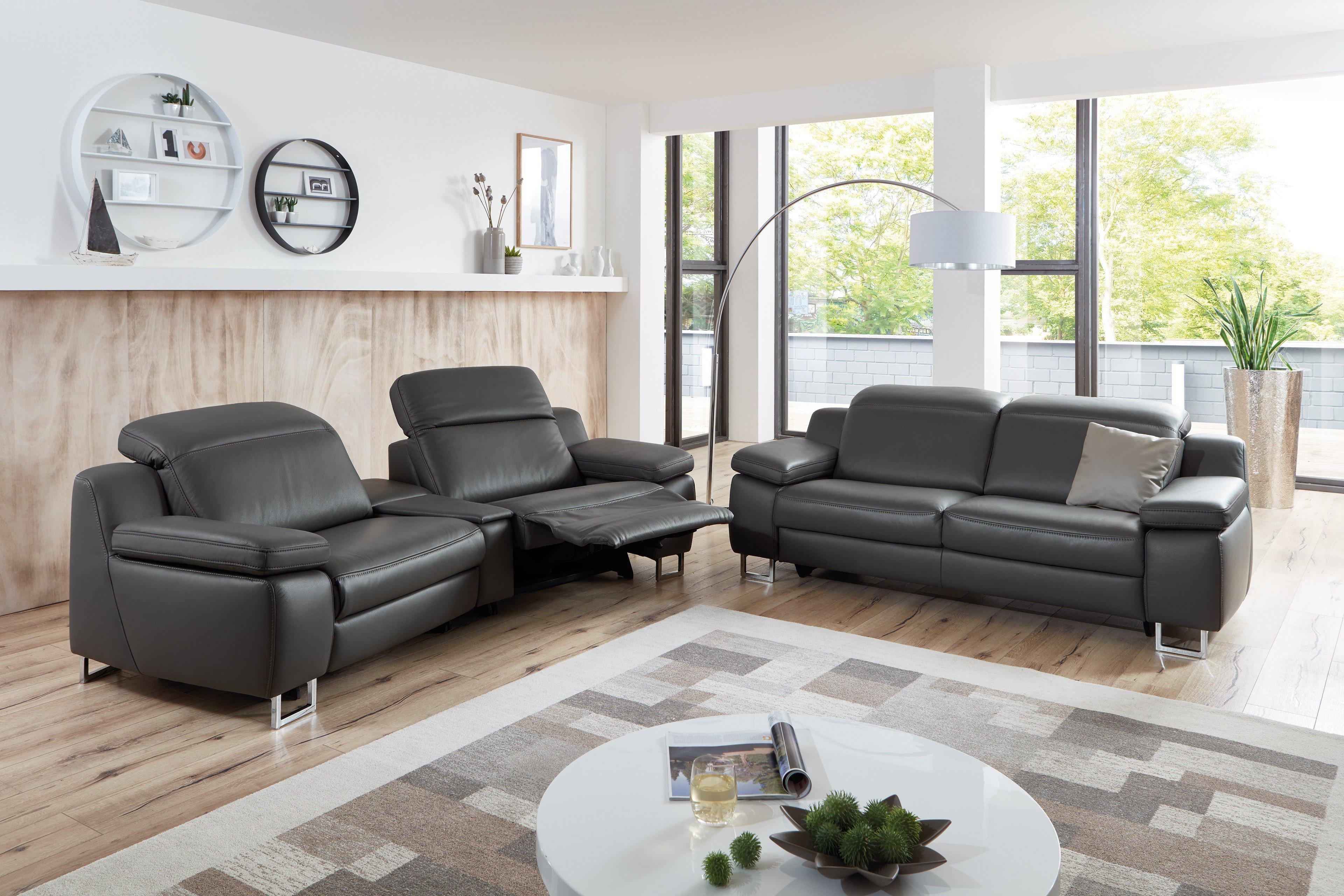 hukla rl1650 ledergarnitur in dunkelgrau m bel letz ihr online shop. Black Bedroom Furniture Sets. Home Design Ideas