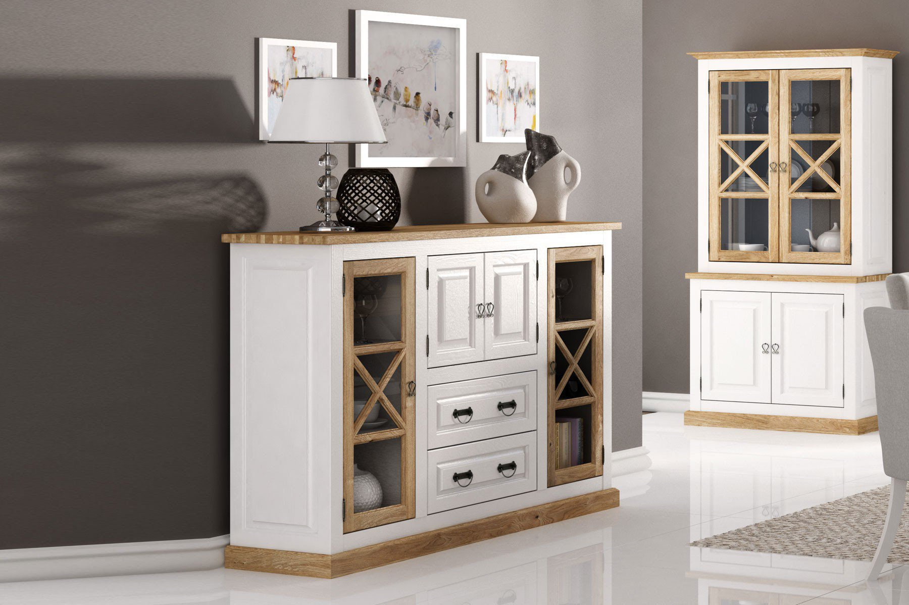 kollektion letz highboard romantica aus massiver kiefer. Black Bedroom Furniture Sets. Home Design Ideas
