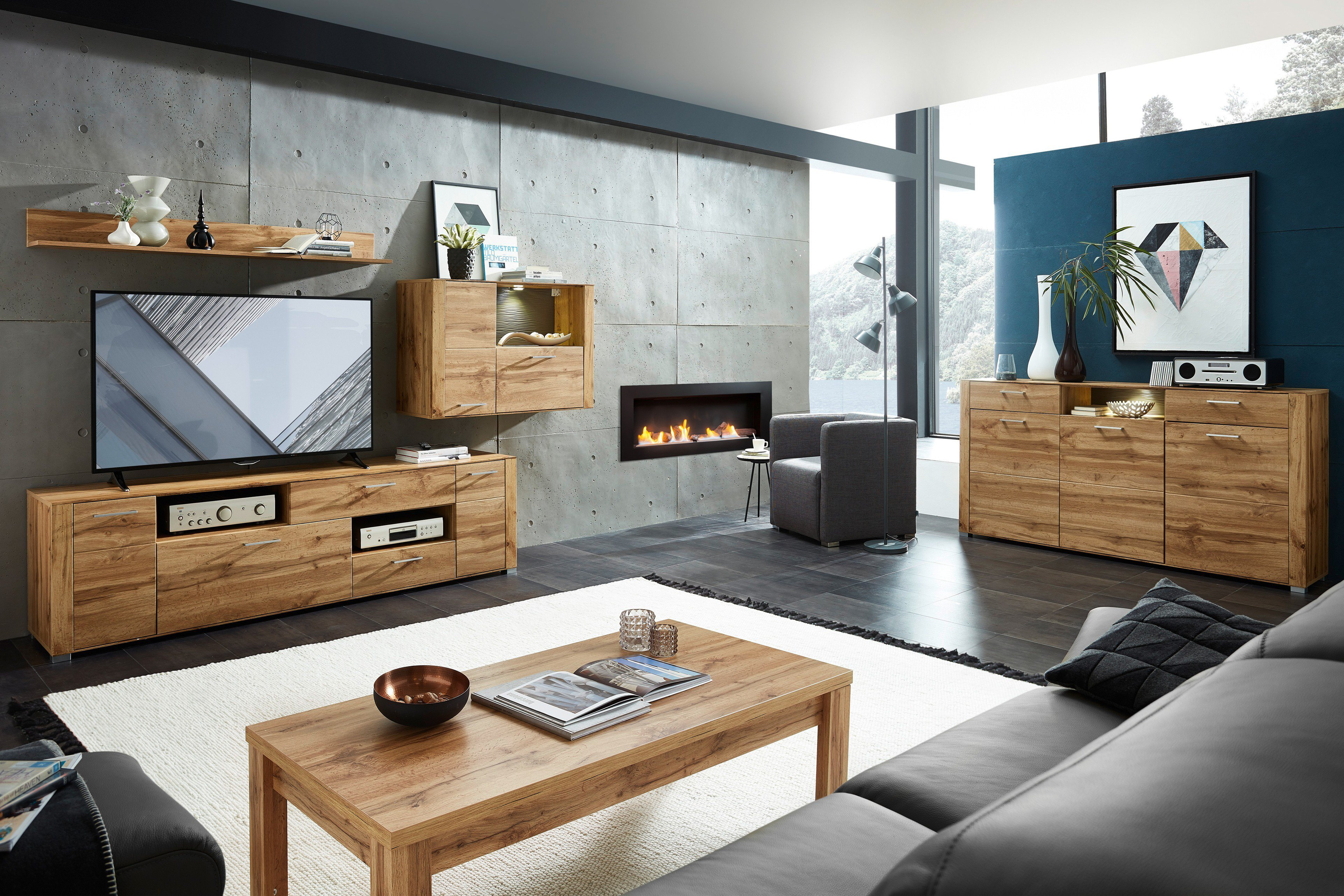 wohnwand altholz. Black Bedroom Furniture Sets. Home Design Ideas