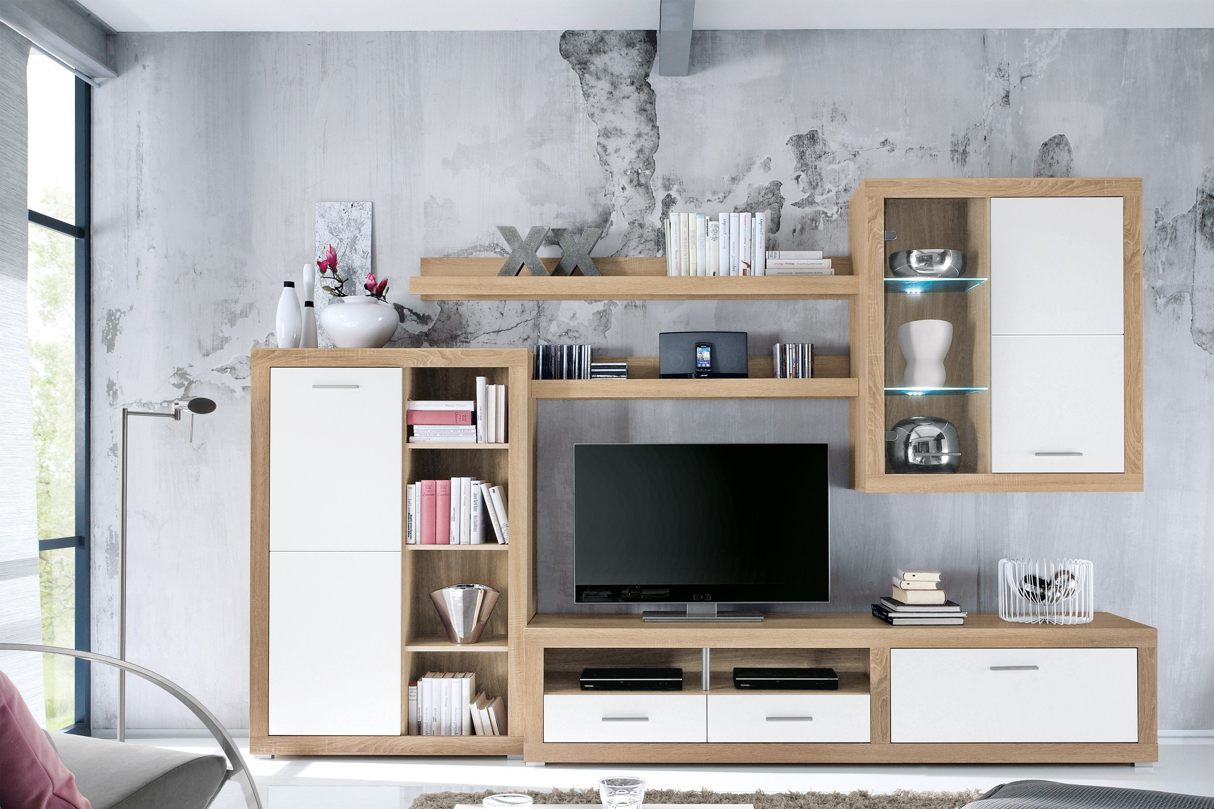hbz meble wohnwand can can 1 sonoma m bel letz ihr online shop. Black Bedroom Furniture Sets. Home Design Ideas