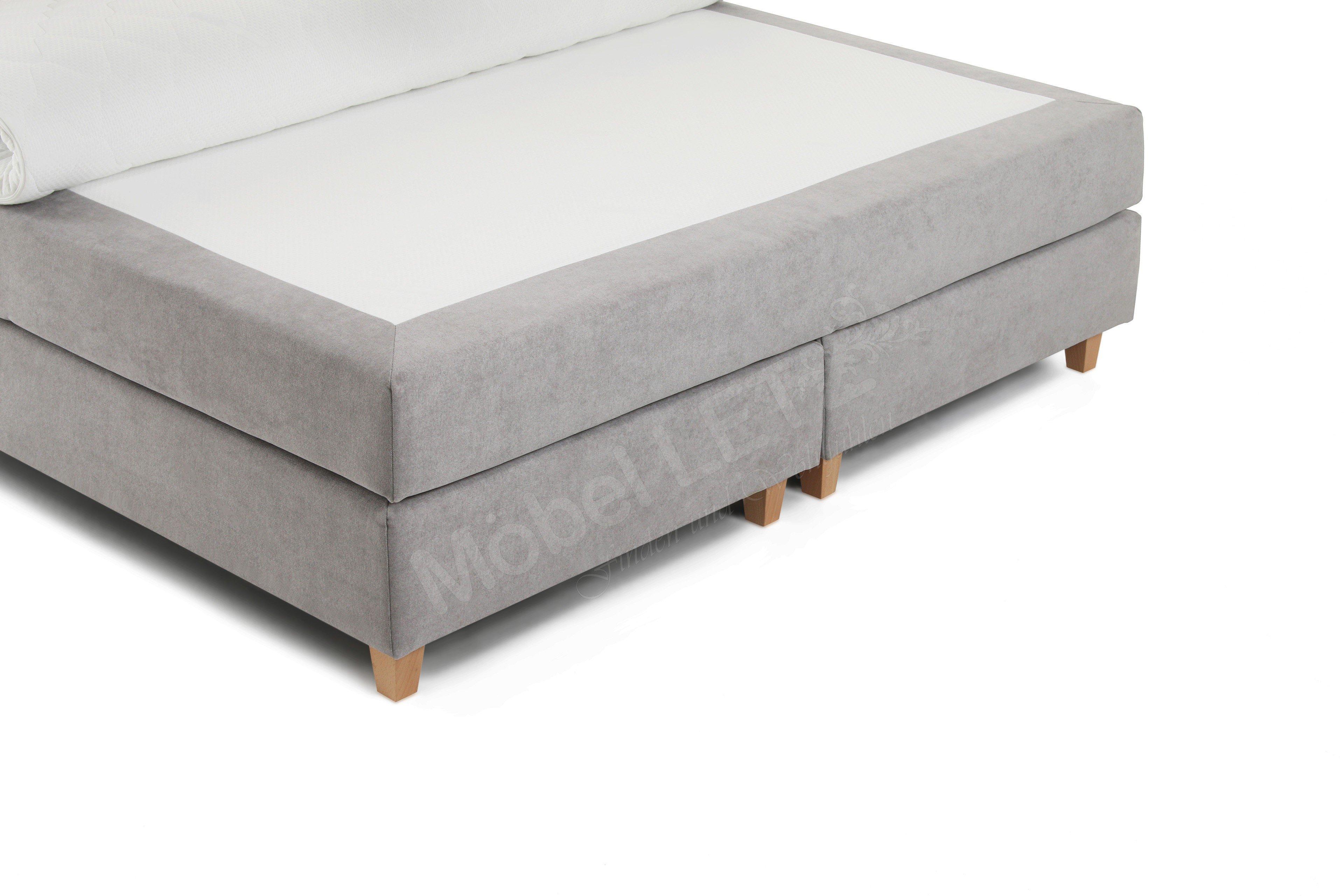skandinavische m bel boxspringbett janno in hellgrau mit. Black Bedroom Furniture Sets. Home Design Ideas