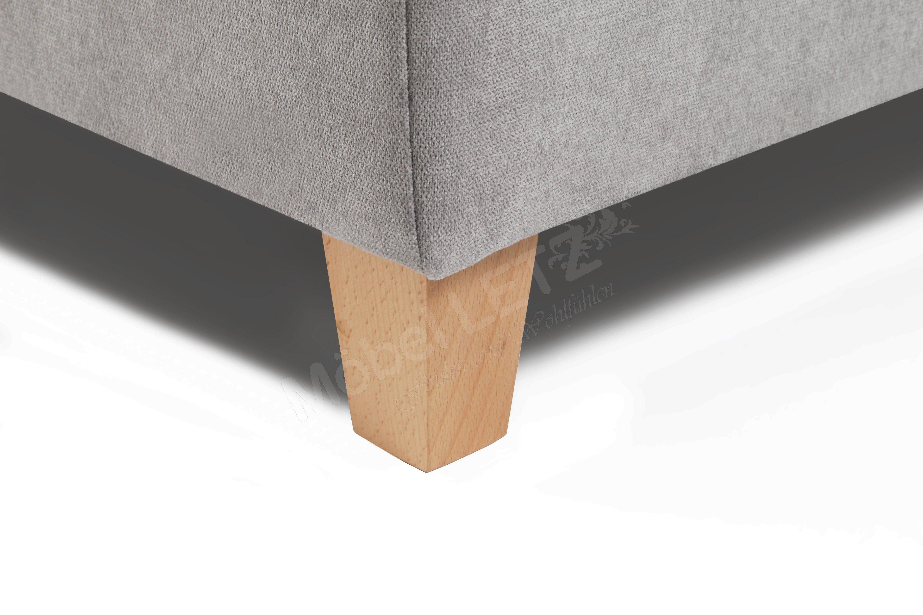 skandinavische m bel boxspringbett janno in hellgrau mit holzf en m bel letz ihr online shop. Black Bedroom Furniture Sets. Home Design Ideas