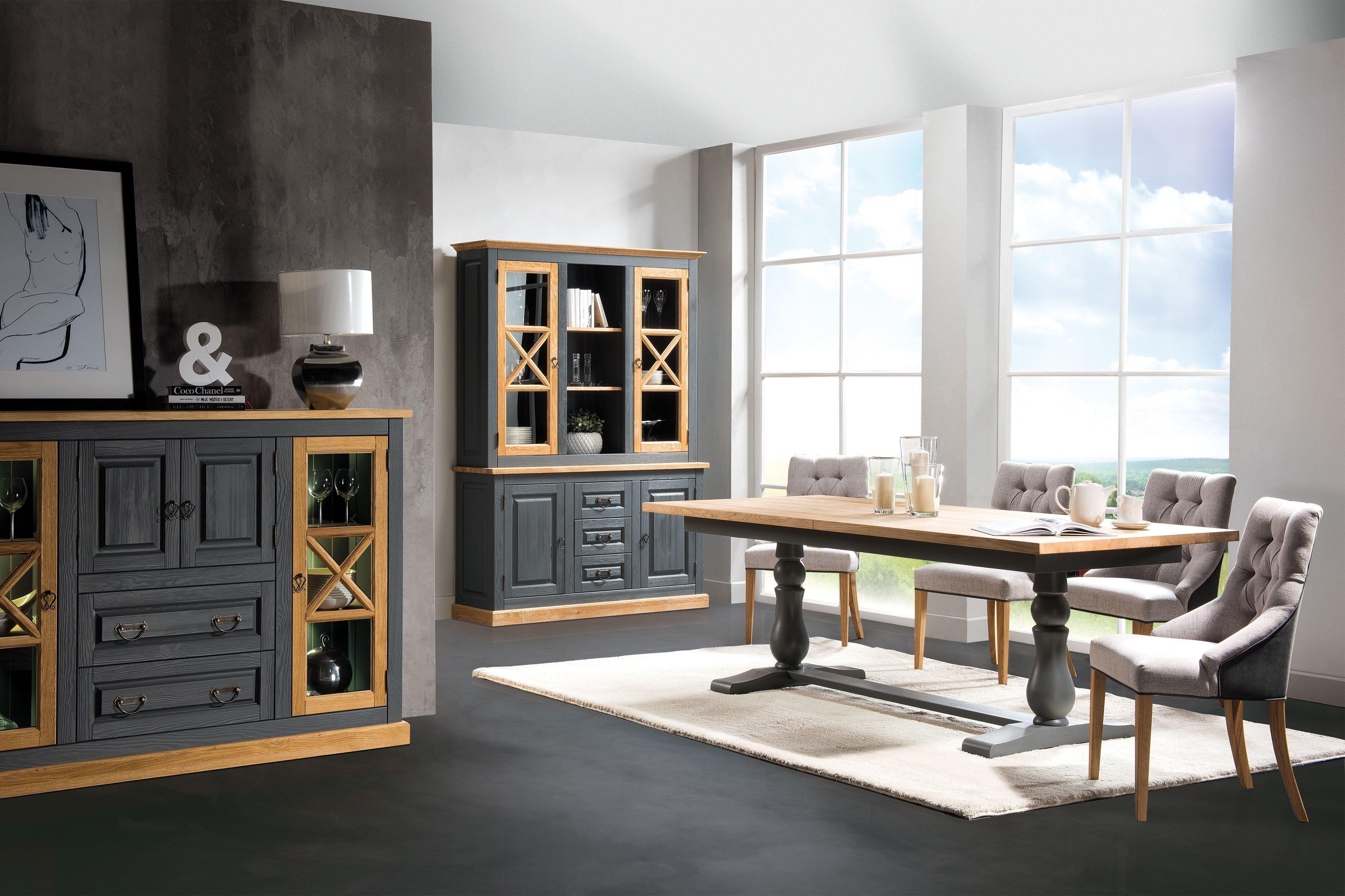 essgruppe romantica grau eiche aus der kollektion letz. Black Bedroom Furniture Sets. Home Design Ideas