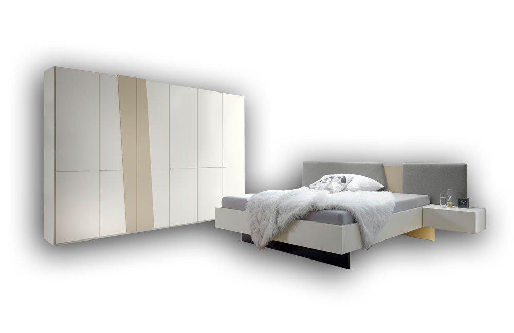 Slash Von Loddenkemper   Schlafzimmer Weiß Bezug Wollstoff Grau