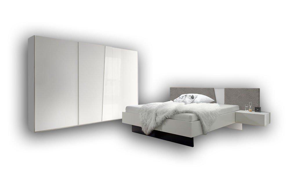 Slash Von Loddenkemper   Schlafzimmer Weiß   Bezug Gesteppt Grau