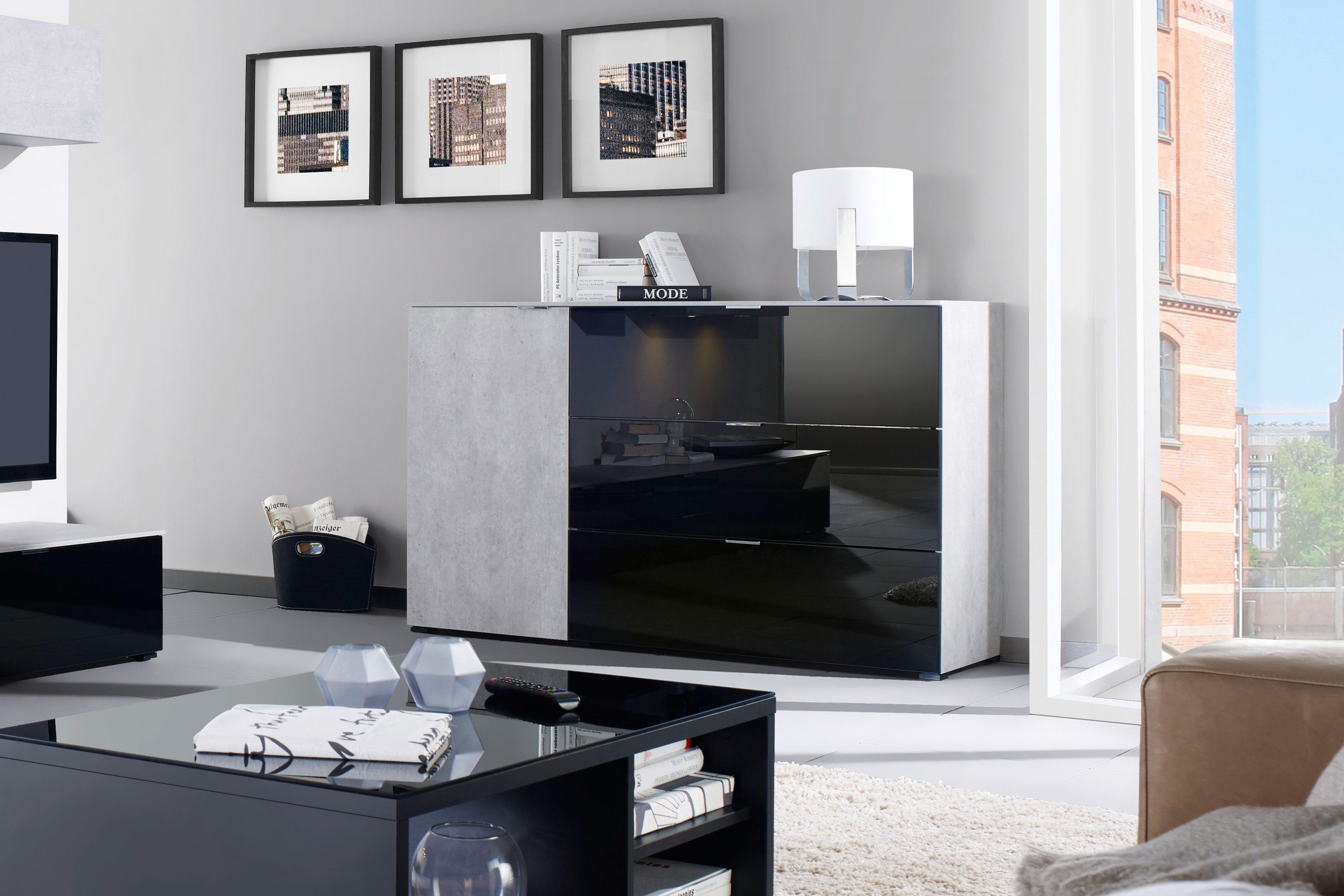 cs schmalm bel kommode cleo beton schwarzglas m bel letz ihr online shop. Black Bedroom Furniture Sets. Home Design Ideas