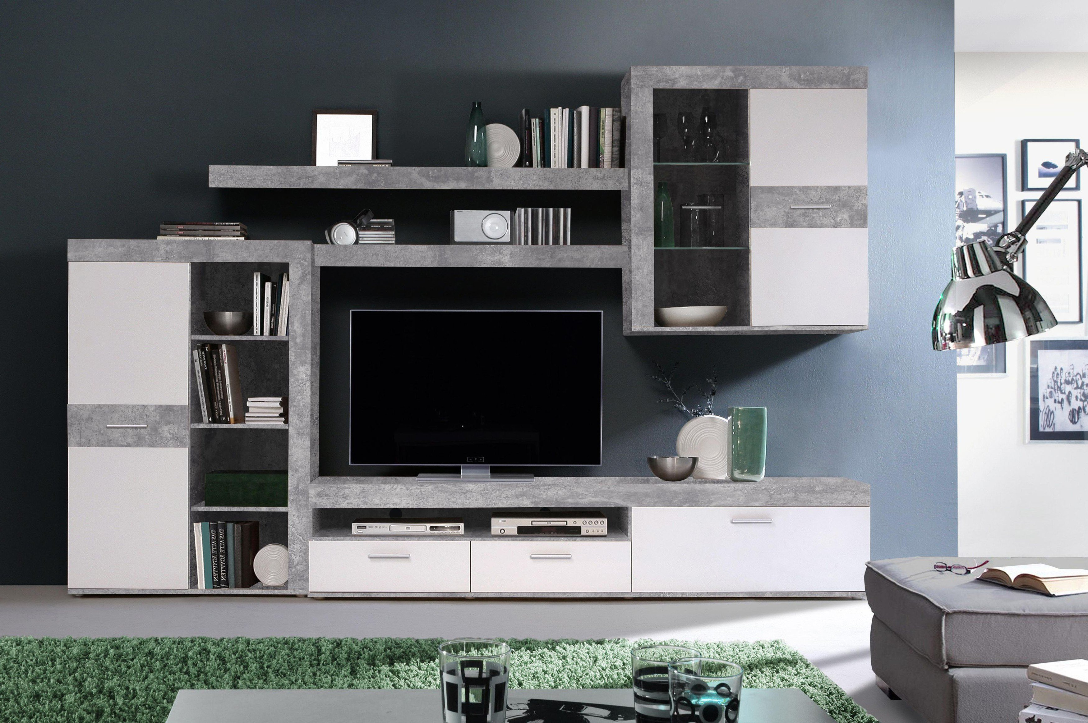 wohnwand zumba betonoptik lichtgrau wei von forte m bel letz ihr online shop. Black Bedroom Furniture Sets. Home Design Ideas
