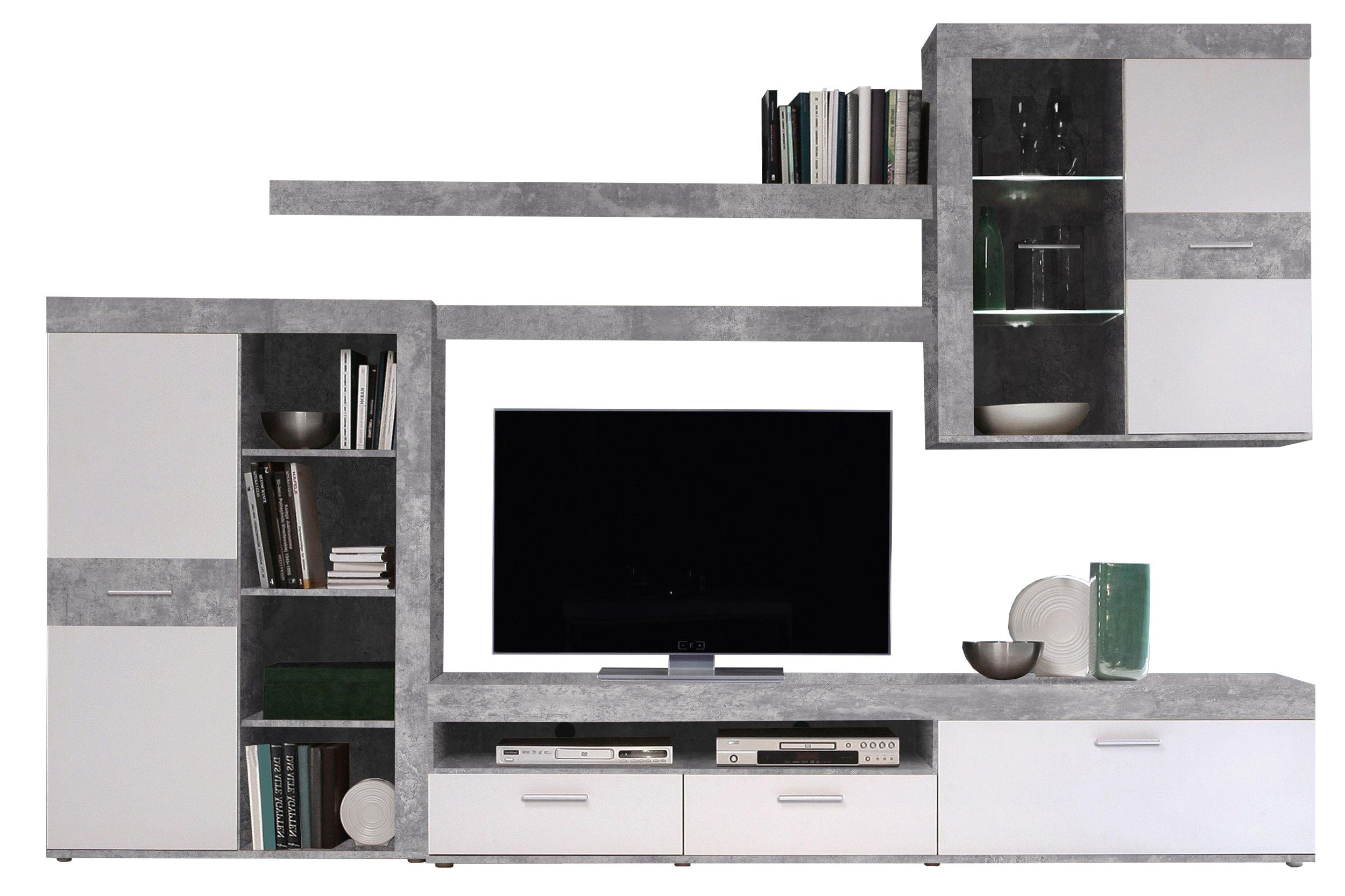 wohnwand zumba betonoptik lichtgrau von forte m bel letz. Black Bedroom Furniture Sets. Home Design Ideas