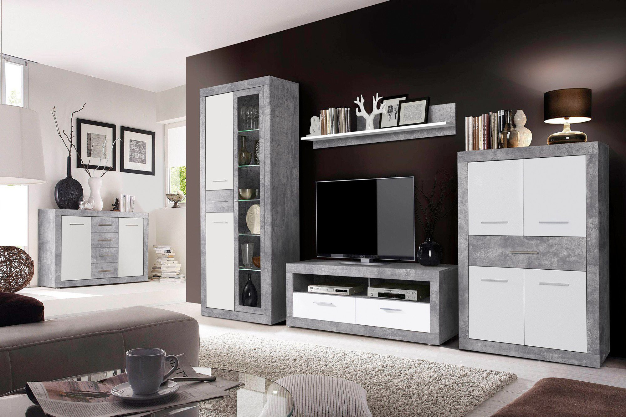 wohnwand vitus betonoptik lichtgrau von forte m bel letz ihr online shop. Black Bedroom Furniture Sets. Home Design Ideas