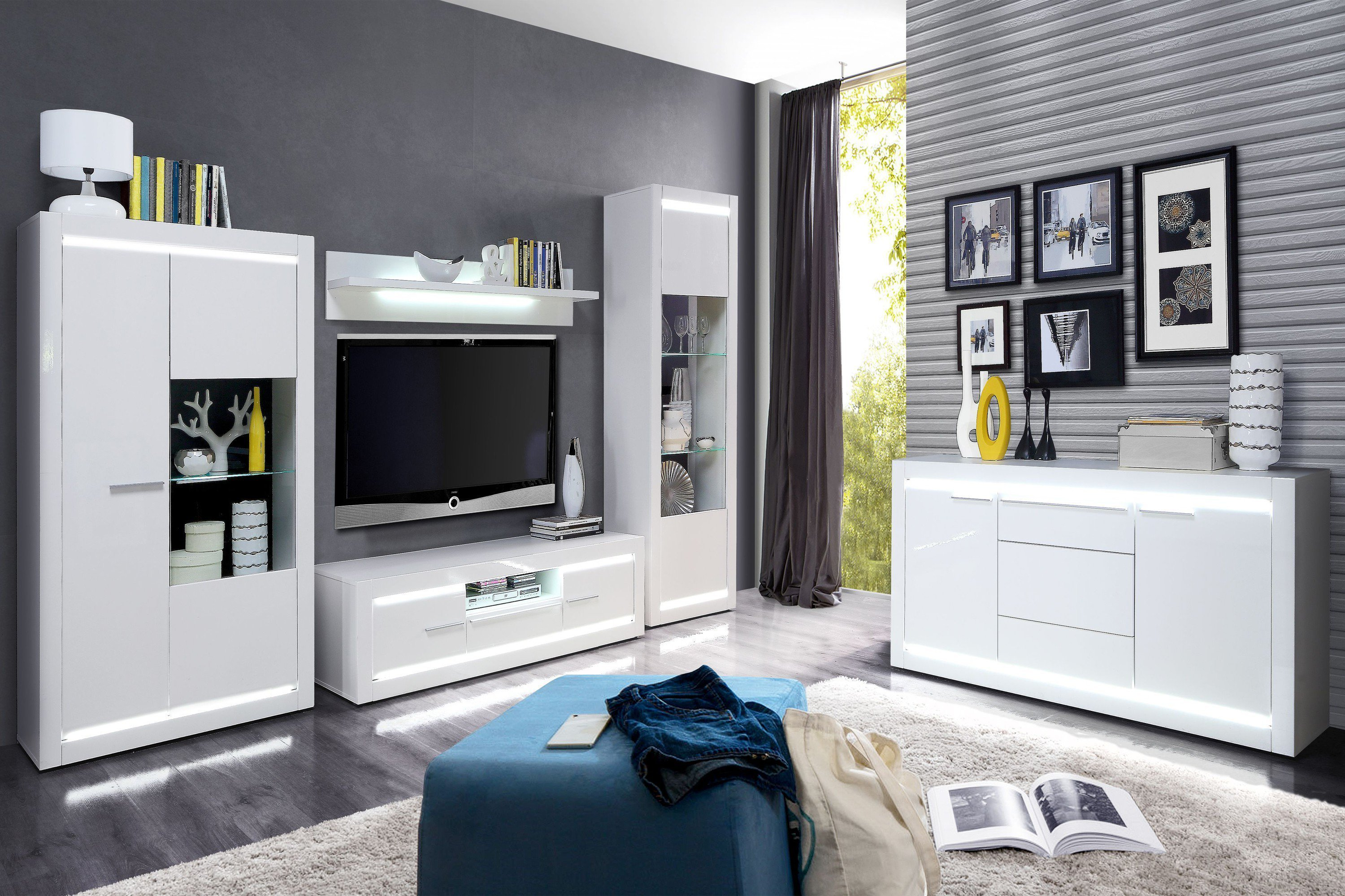 wohnwand l light wei von forte m bel letz ihr online shop. Black Bedroom Furniture Sets. Home Design Ideas
