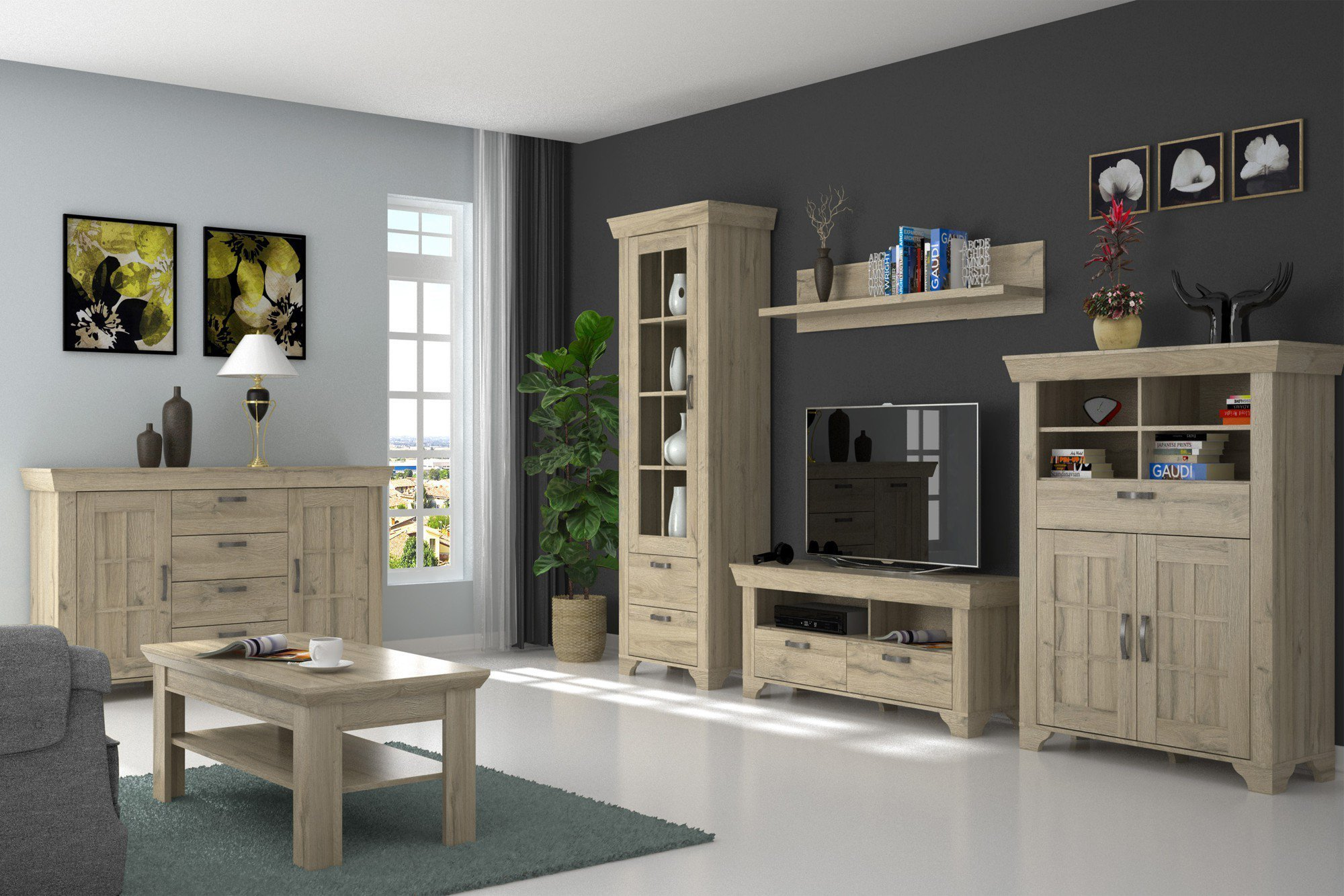 wohnwand hamilton eiche bianco von forte m bel letz. Black Bedroom Furniture Sets. Home Design Ideas