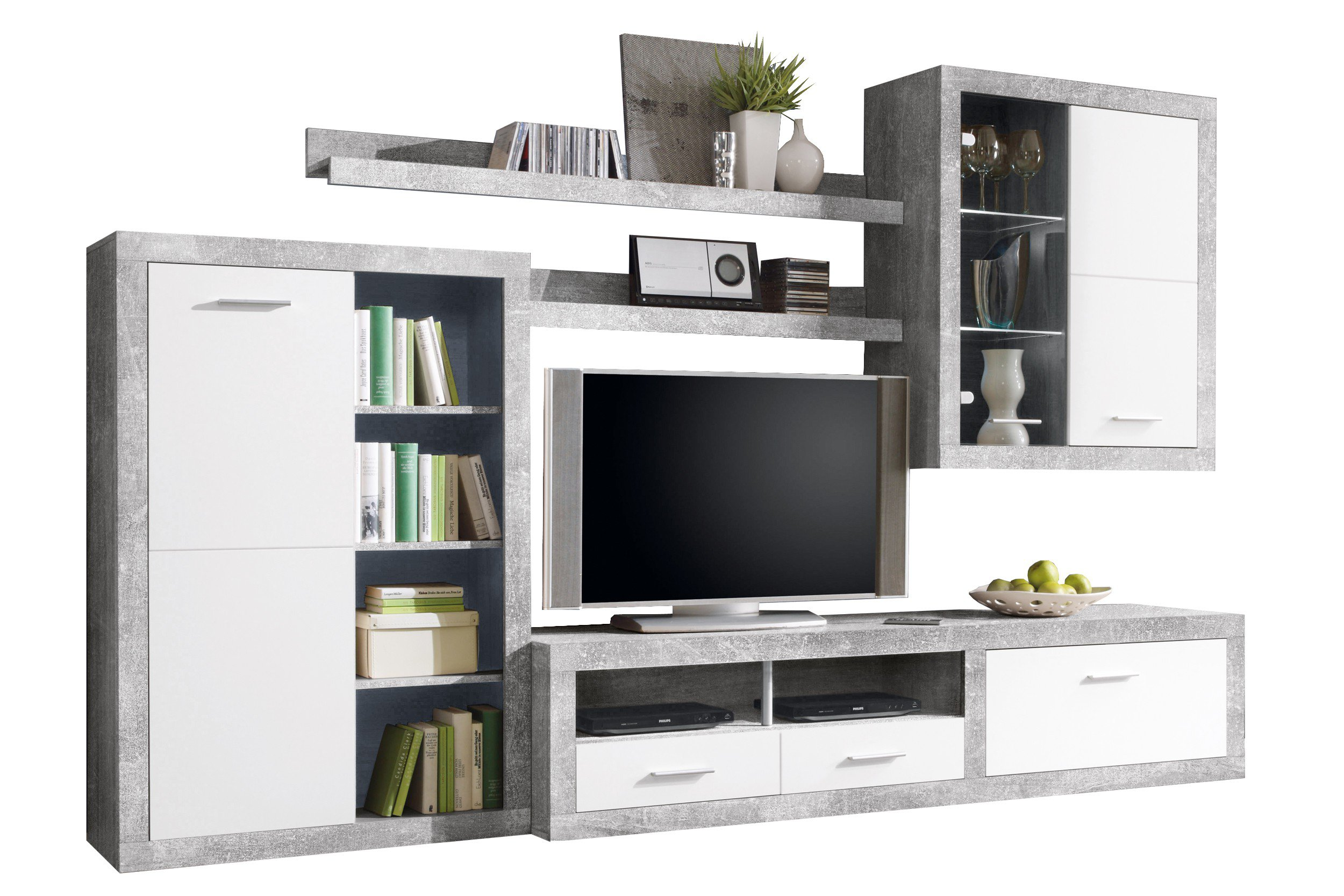 hbz meble wohnwand can can 1 betonoptik m bel letz ihr online shop. Black Bedroom Furniture Sets. Home Design Ideas