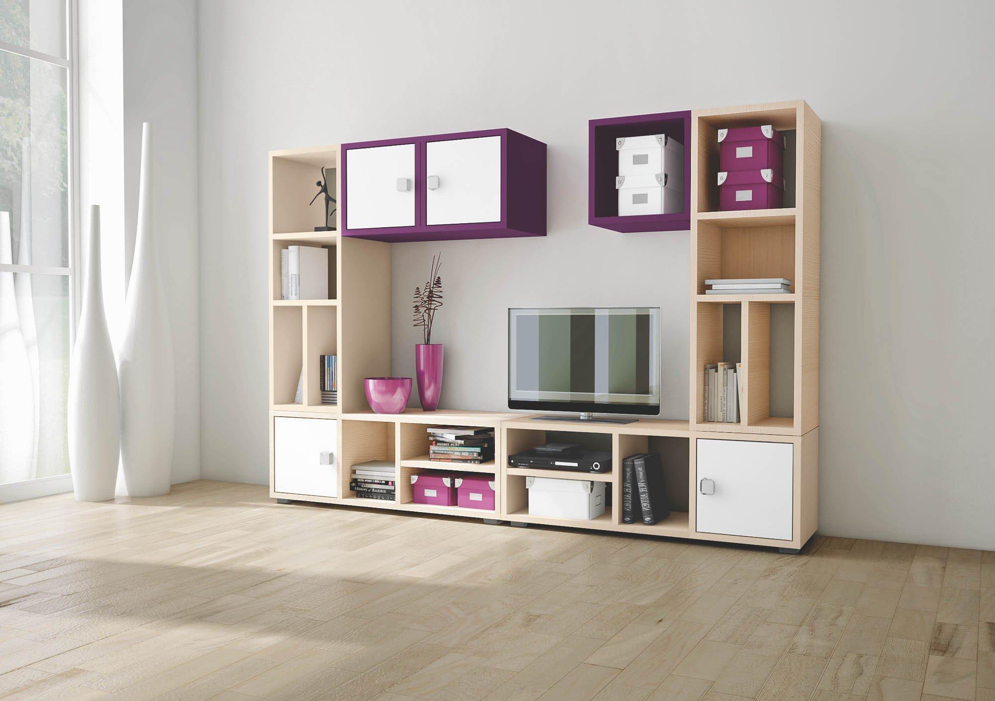 Welle wohnwand unlimited esche wei lila m bel letz ihr online shop - Jugendzimmer wohnwand ...