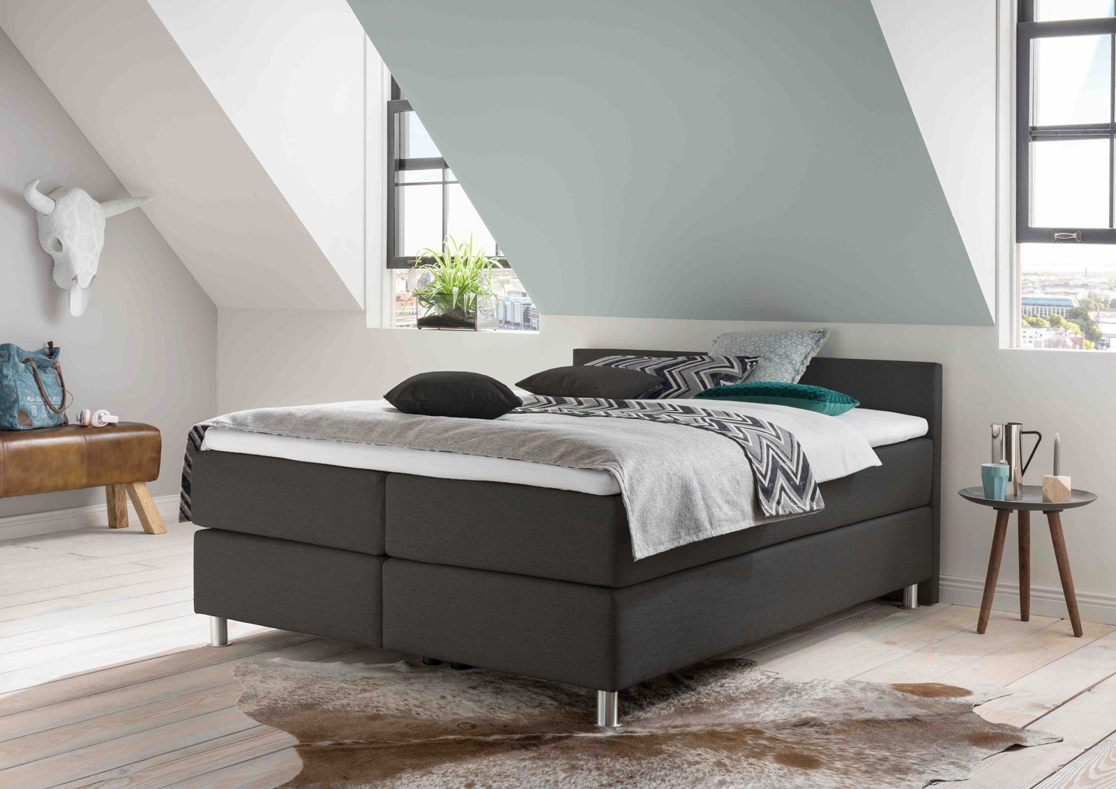 otten boxspringbett princesa in grau mit extra kurzem kopfteil m bel letz ihr online shop. Black Bedroom Furniture Sets. Home Design Ideas
