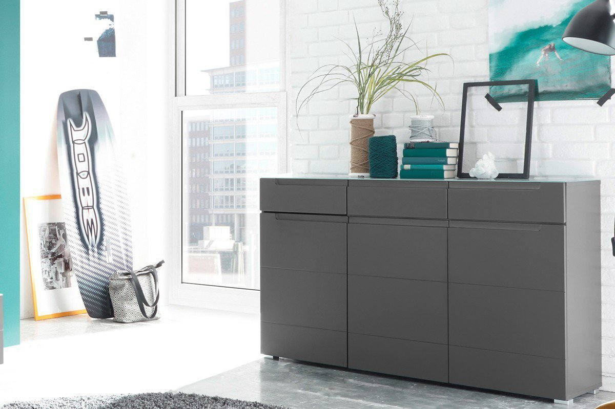 Wohnwand Grau Matt ~ Hbz meble wohnwand tiger in grau möbel letz ihr online shop