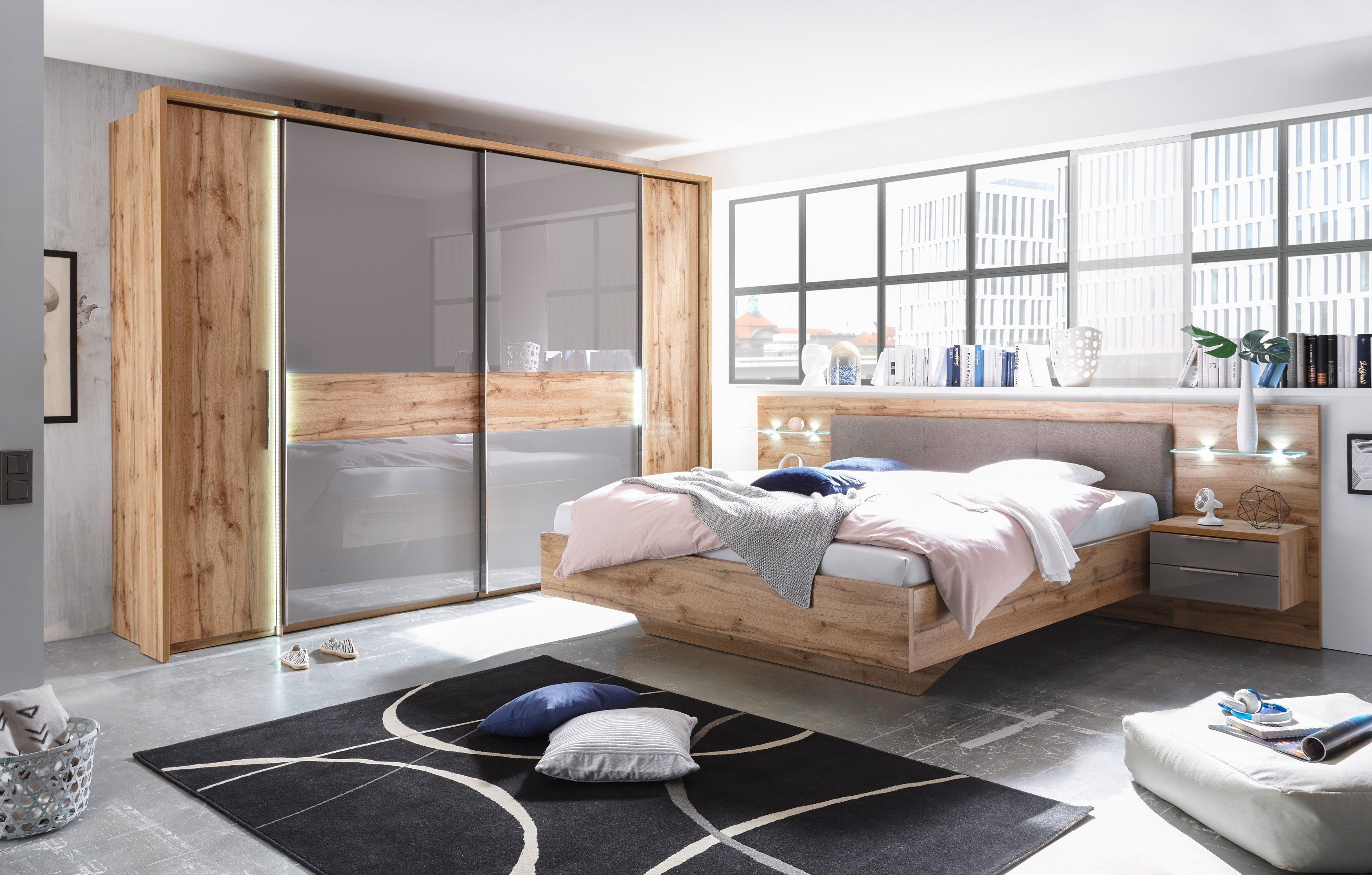 schlafkontor milano schlafzimmer wildeiche glas basalt. Black Bedroom Furniture Sets. Home Design Ideas