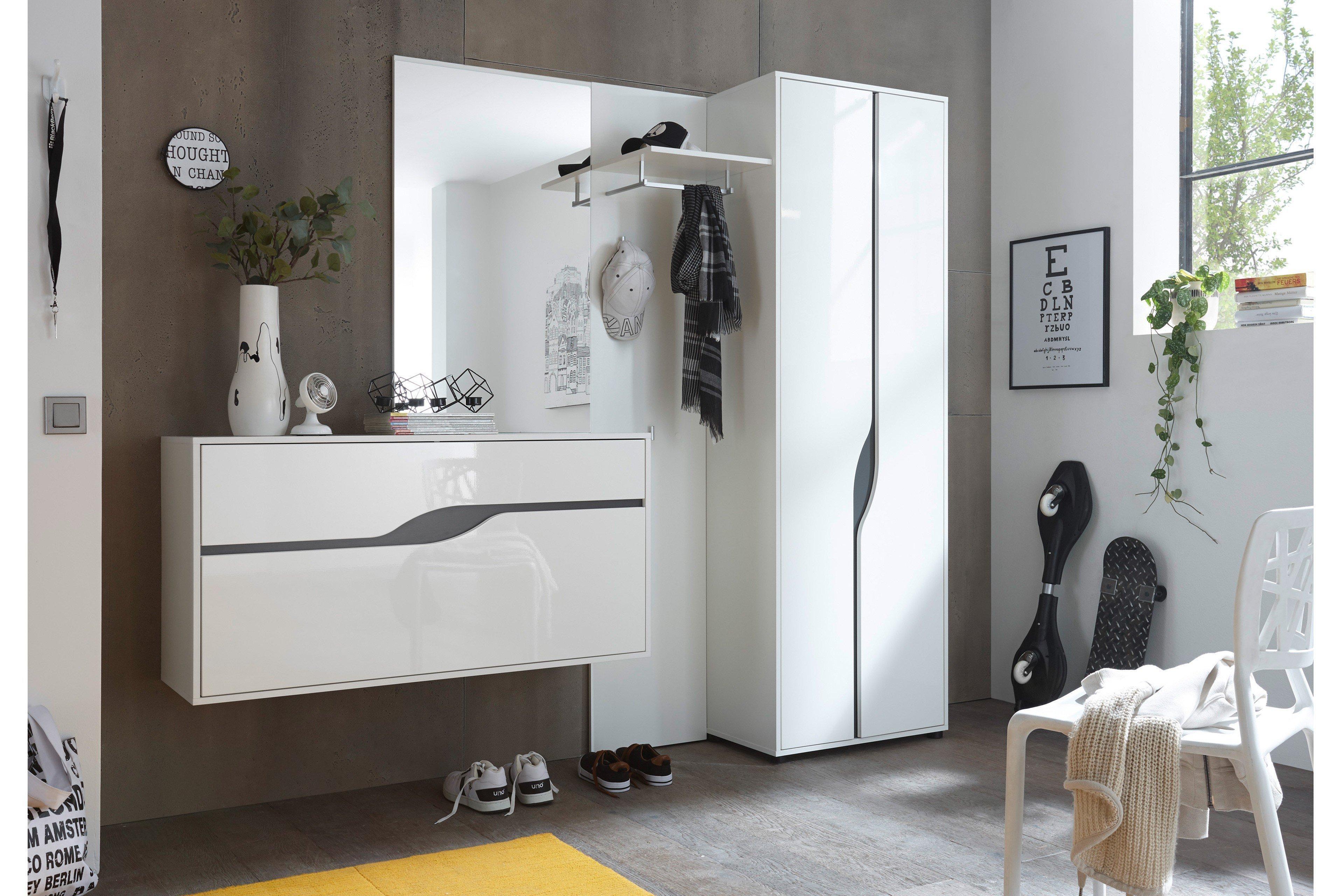 first look garderobe wave wei grau m bel letz ihr. Black Bedroom Furniture Sets. Home Design Ideas