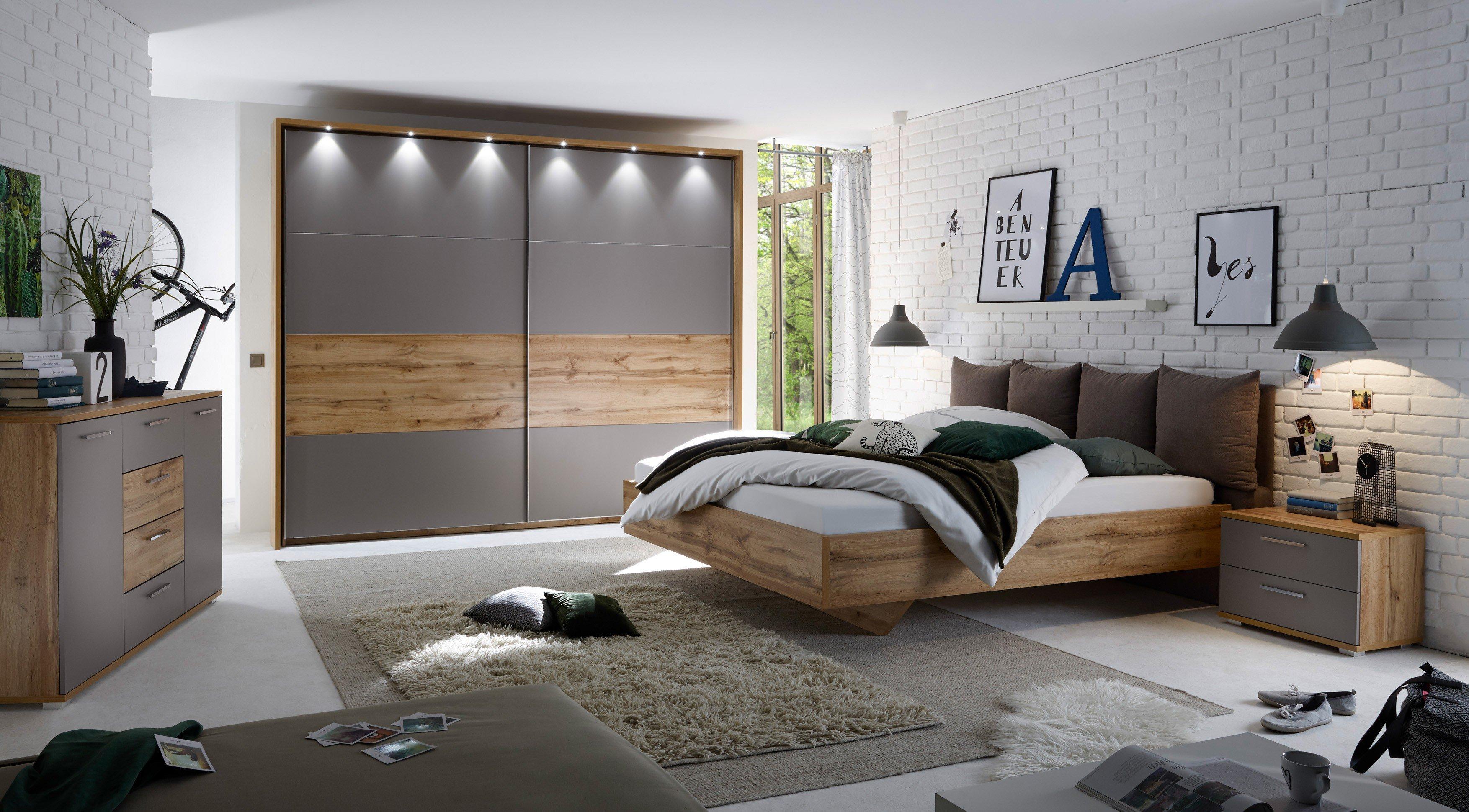 SchlafKONTOR Delta Schlafzimmer Wildeiche - basalt | Möbel Letz ...