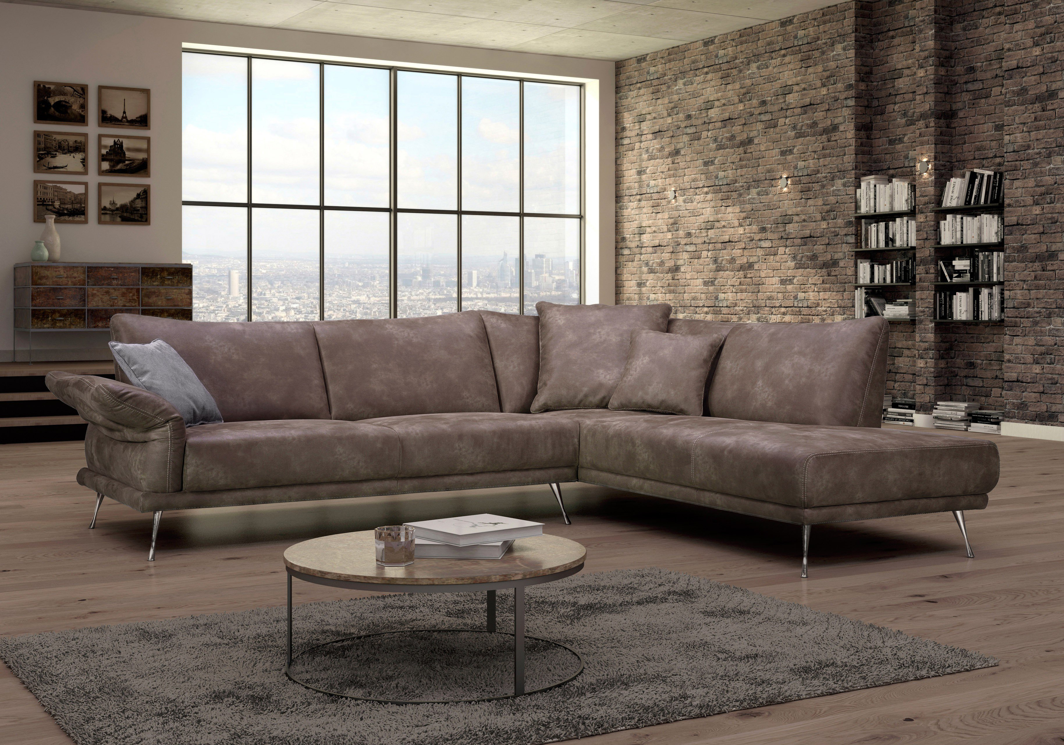 Dreisitz Design Donani Ecksofa In Braun Möbel Letz Ihr Online Shop