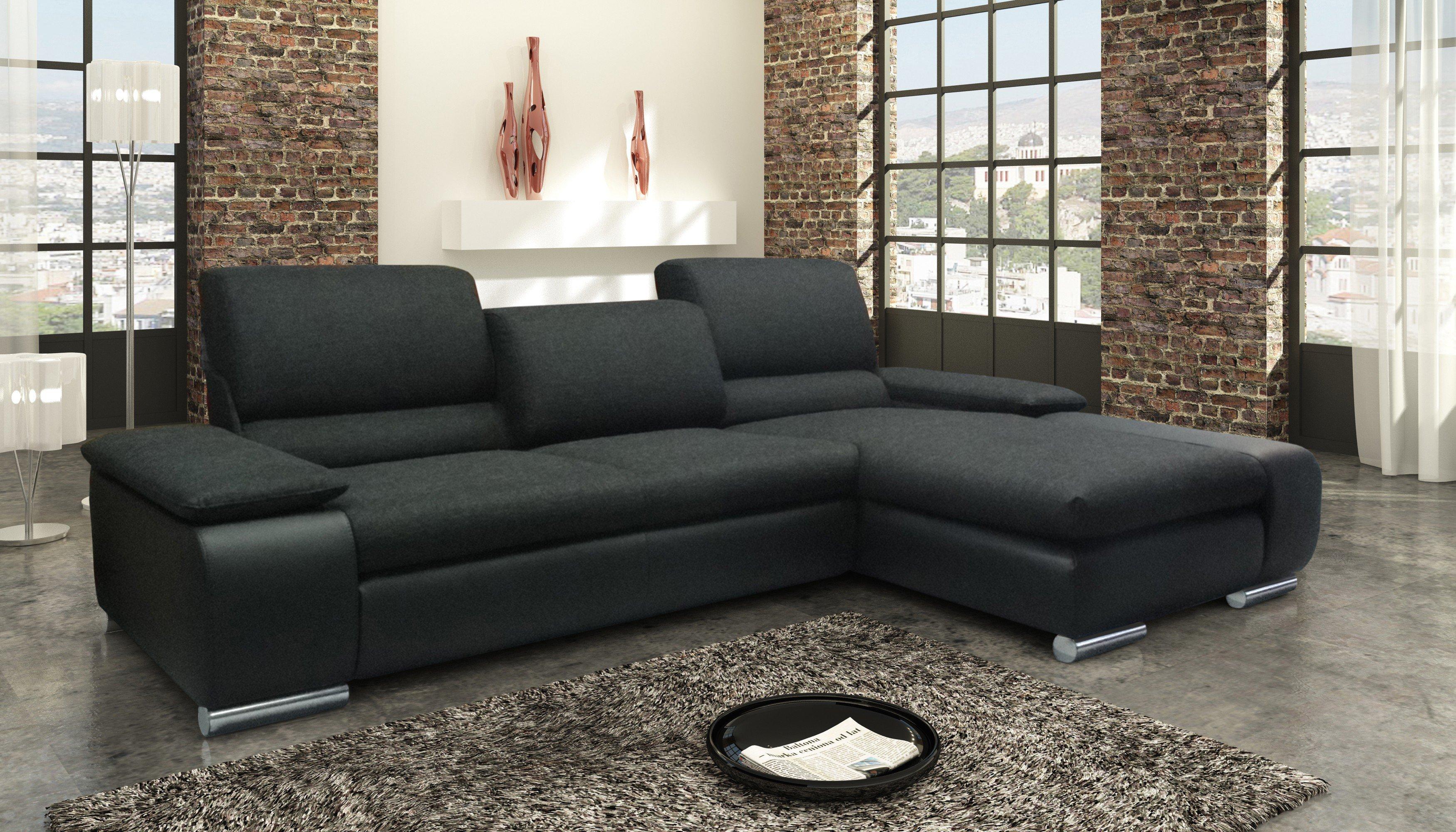 dreisitz design faro eckgarnitur in schwarz m bel letz ihr online shop. Black Bedroom Furniture Sets. Home Design Ideas
