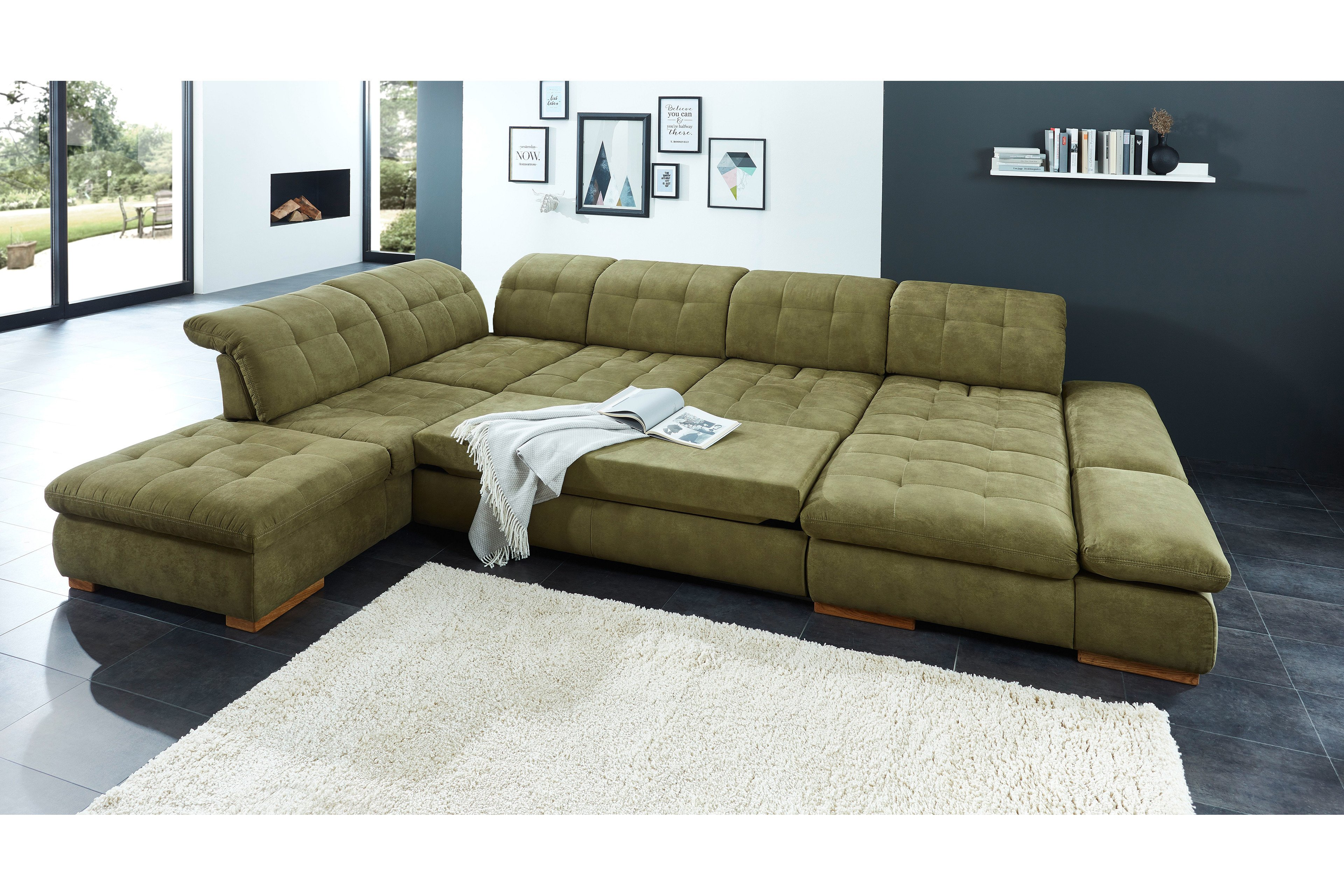 poco polsterm bel houston sofa in u form gr n m bel letz ihr online shop. Black Bedroom Furniture Sets. Home Design Ideas