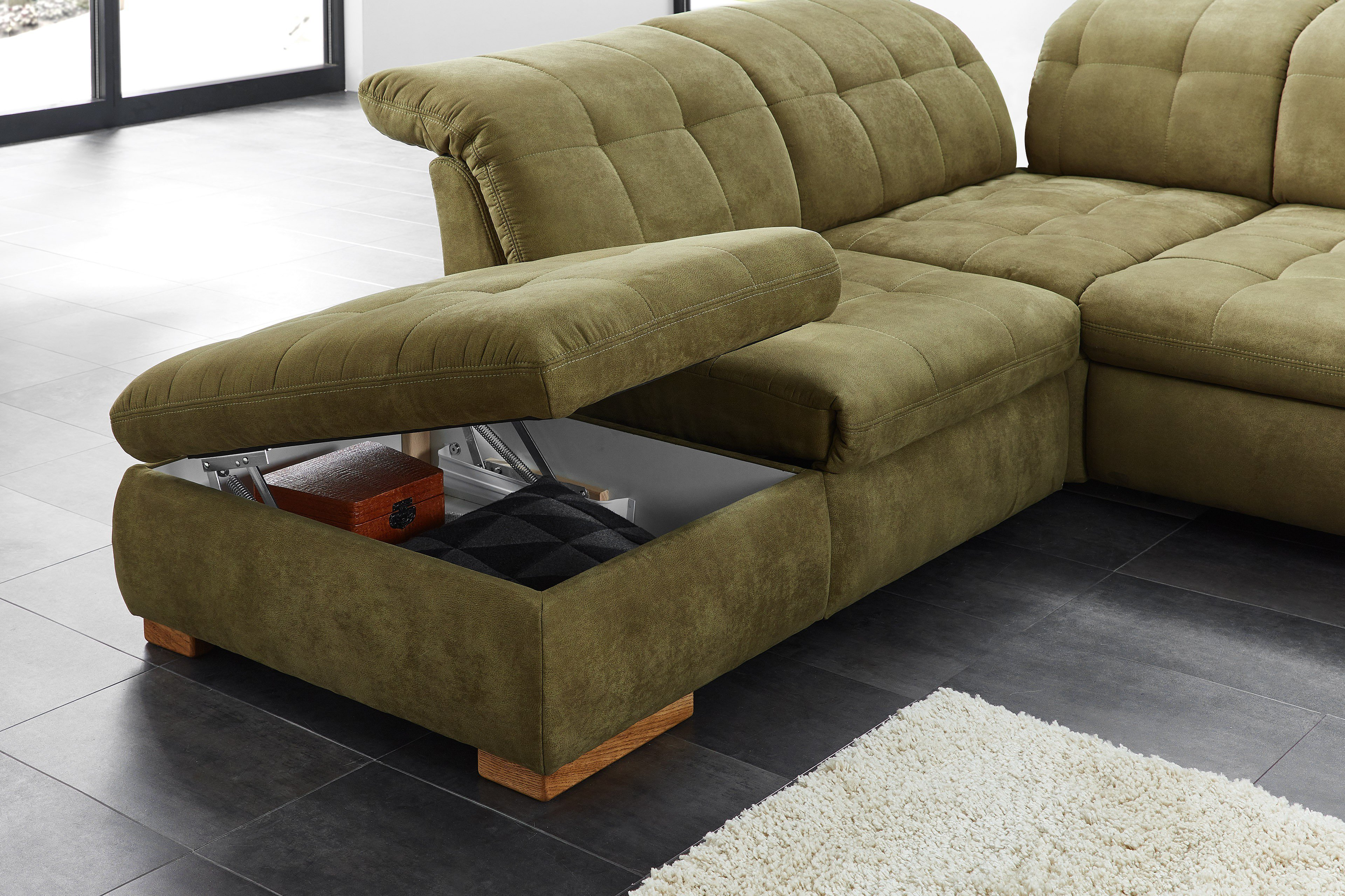 poco polsterm bel houston sofa in u form gr n m bel letz ihr online shop. Black Bedroom Furniture Sets. Home Design Ideas
