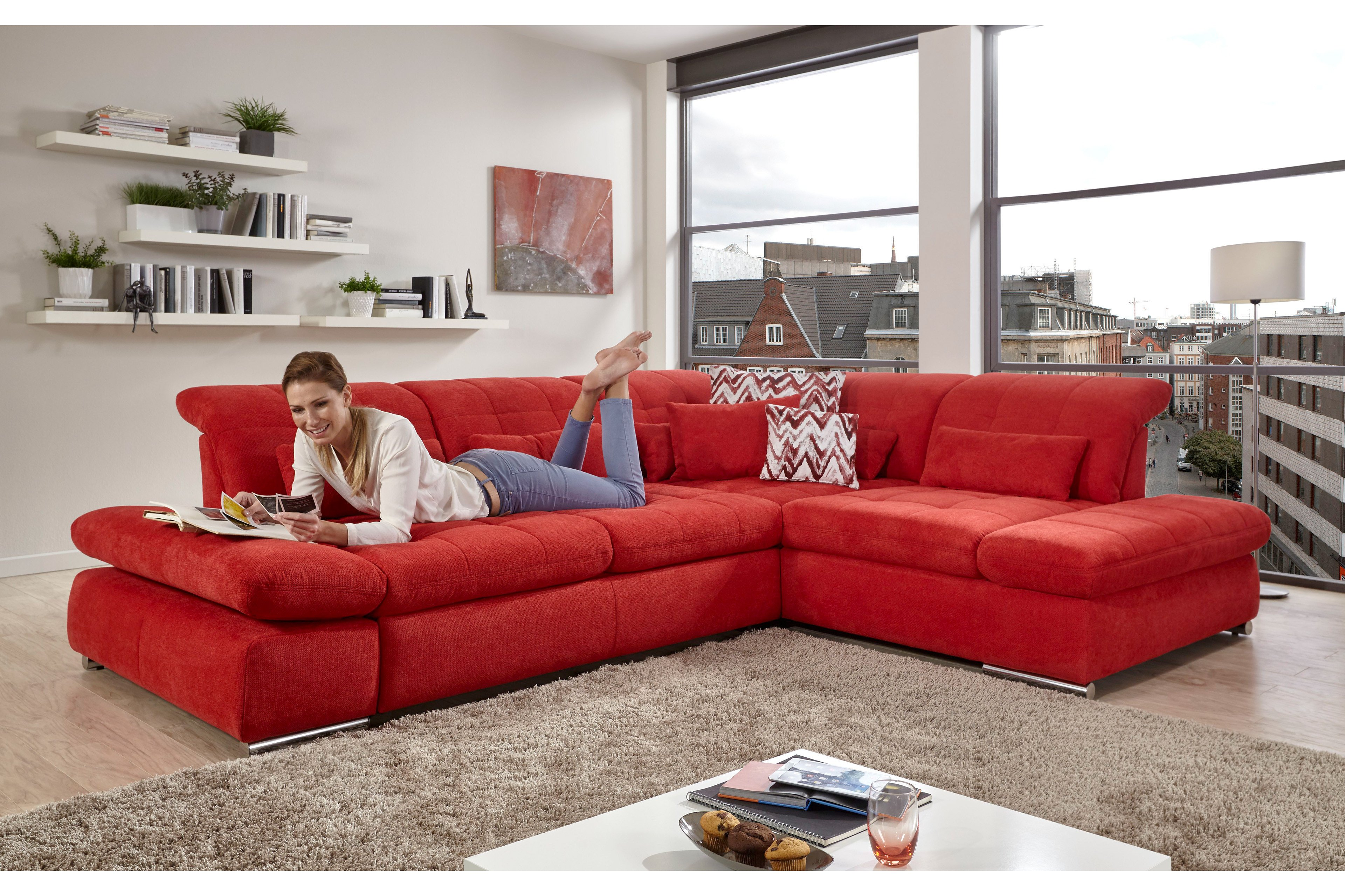 poco houston ecksofa in rot m bel letz ihr online shop. Black Bedroom Furniture Sets. Home Design Ideas