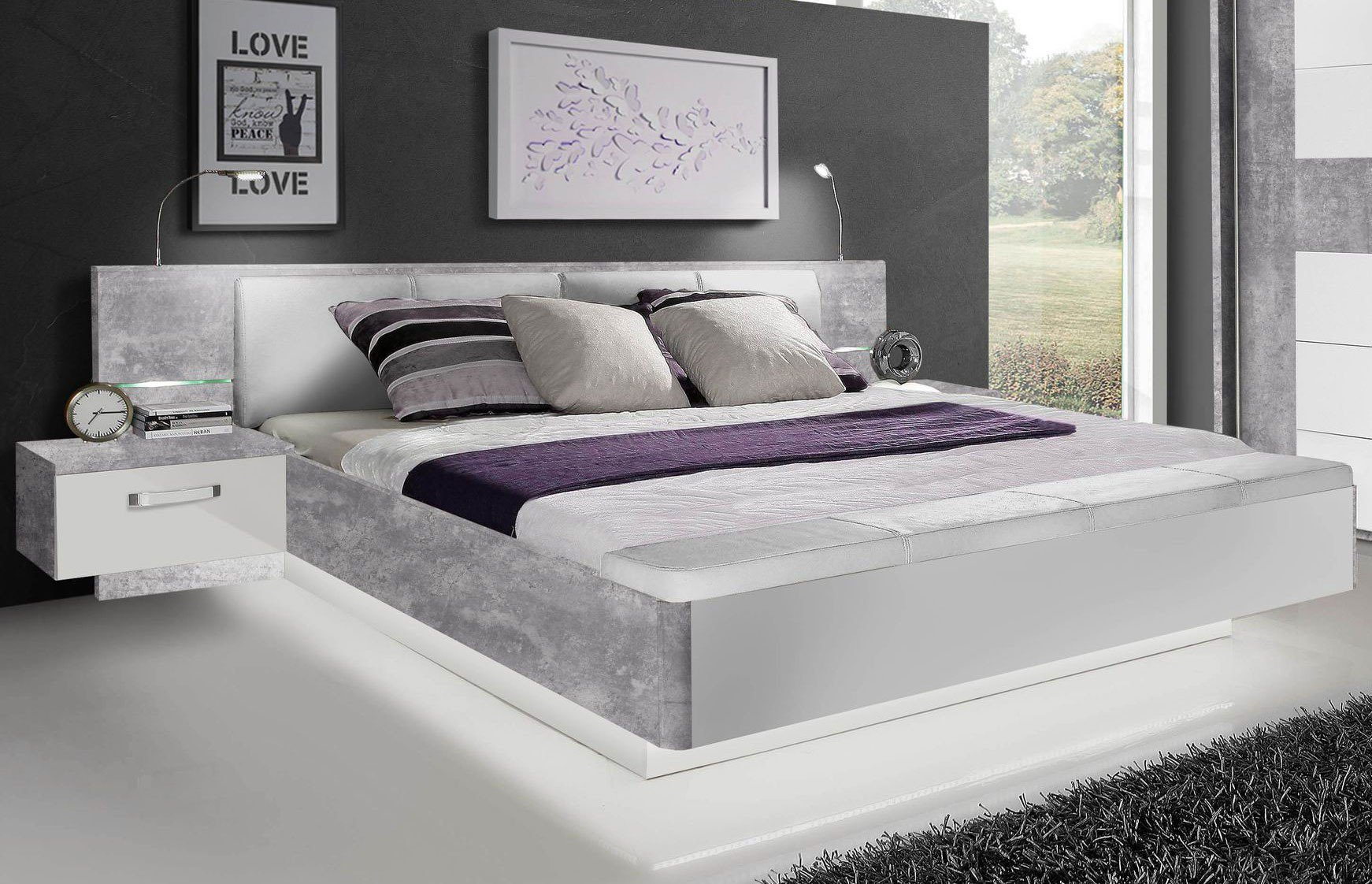 bett rondino von forte beton optik hochglanz wei m bel letz ihr online shop. Black Bedroom Furniture Sets. Home Design Ideas