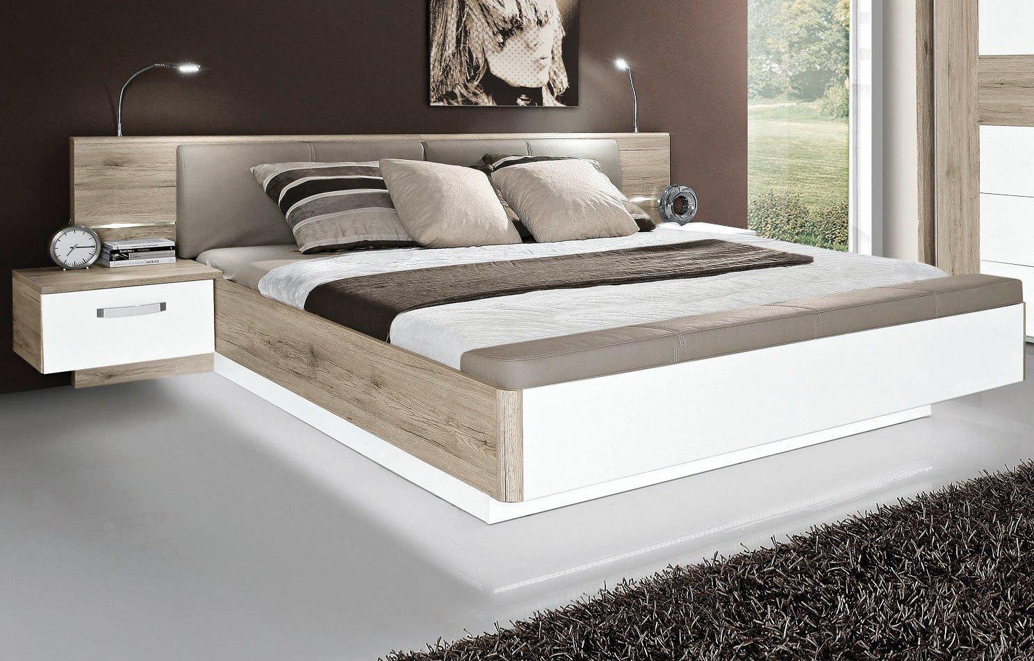 Bett Rondino von Forte Beton-Optik - Hochglanz weiß | Möbel Letz ...