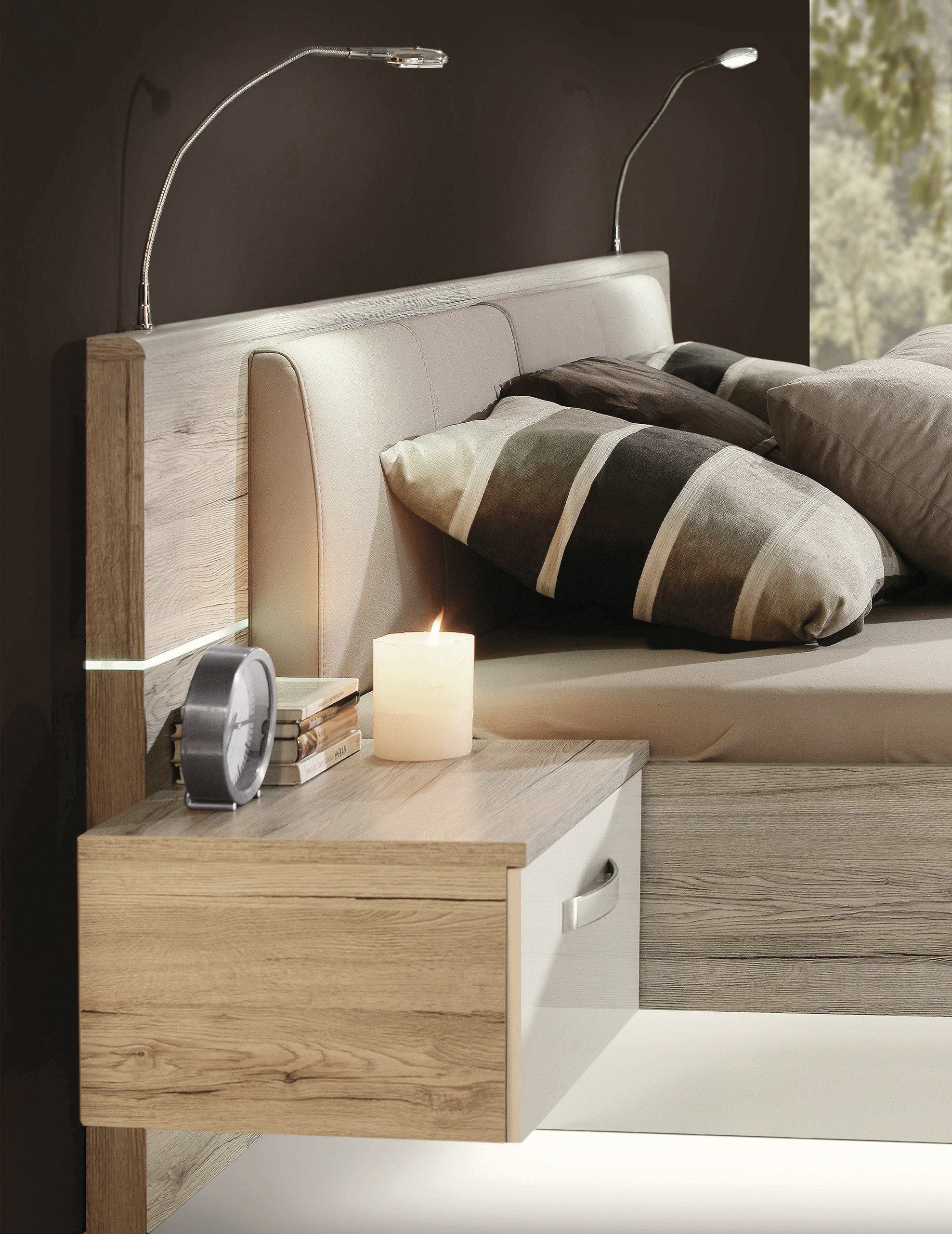 bett rondino von forte beton optik hochglanz wei. Black Bedroom Furniture Sets. Home Design Ideas