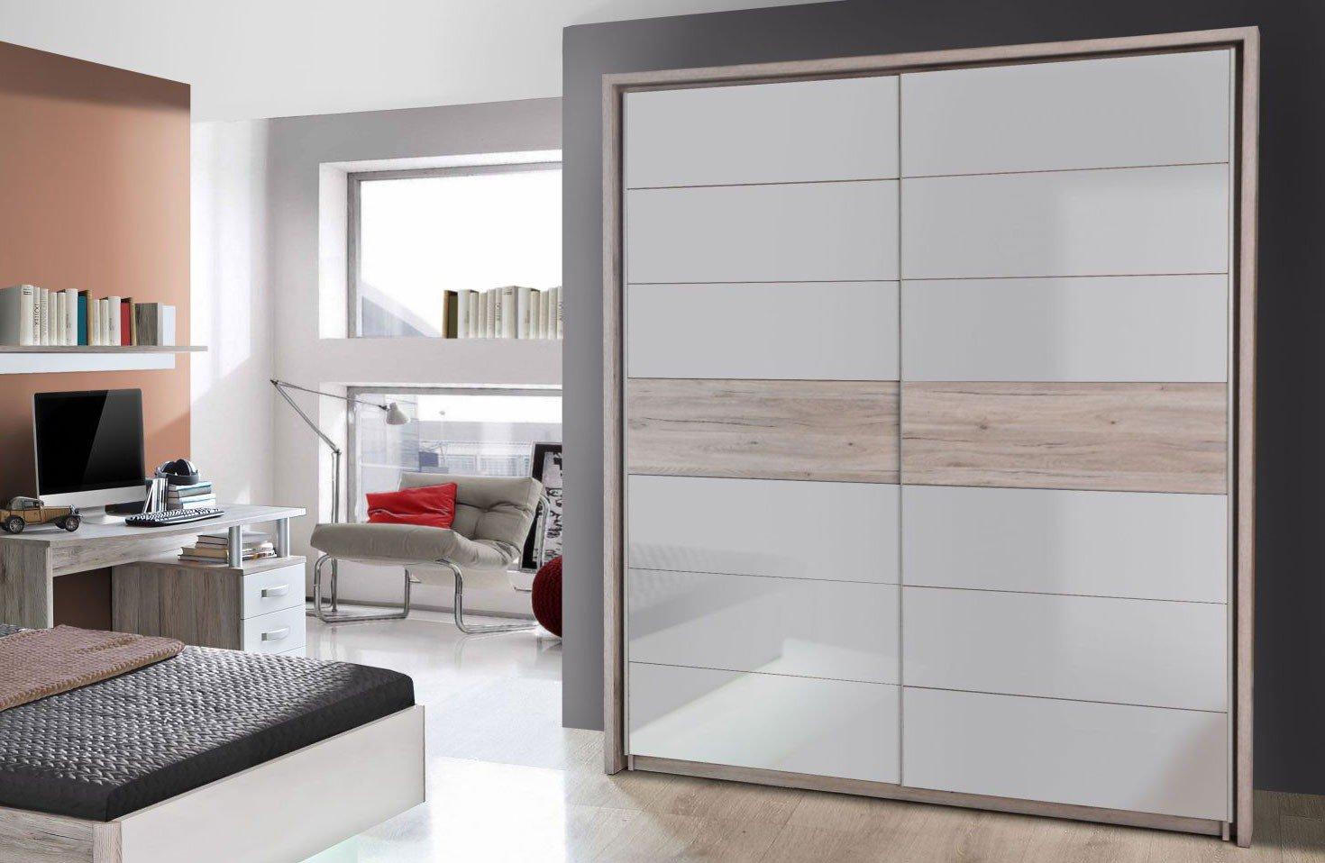 Rondino Bett 140 x 200 cm Sandeiche Nachbildung - Hochglanz weiß ...