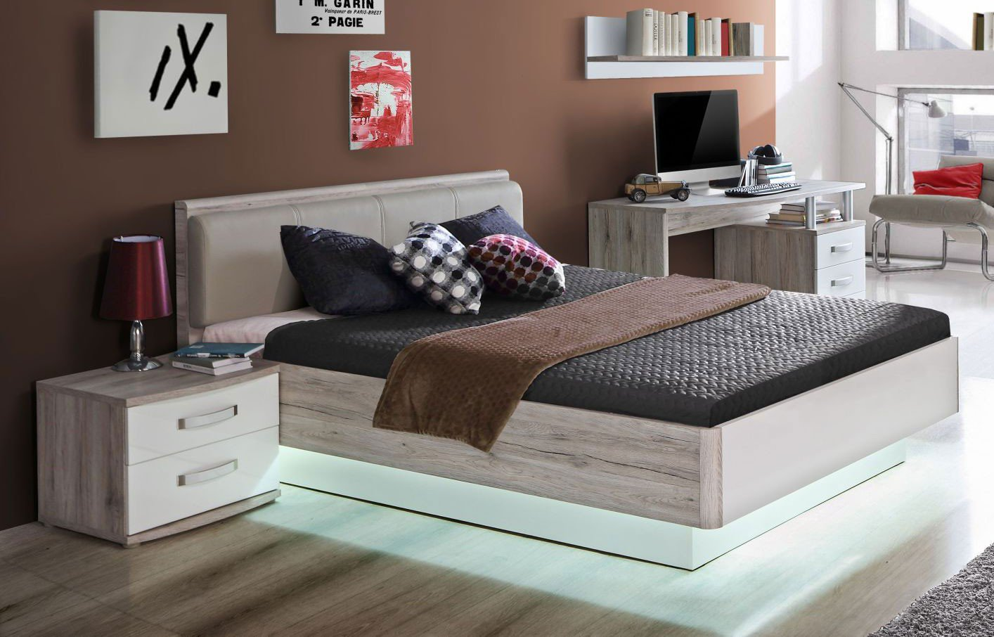 rondino bett 140 x 200 cm sandeiche nachbildung hochglanz wei m bel letz ihr online shop. Black Bedroom Furniture Sets. Home Design Ideas