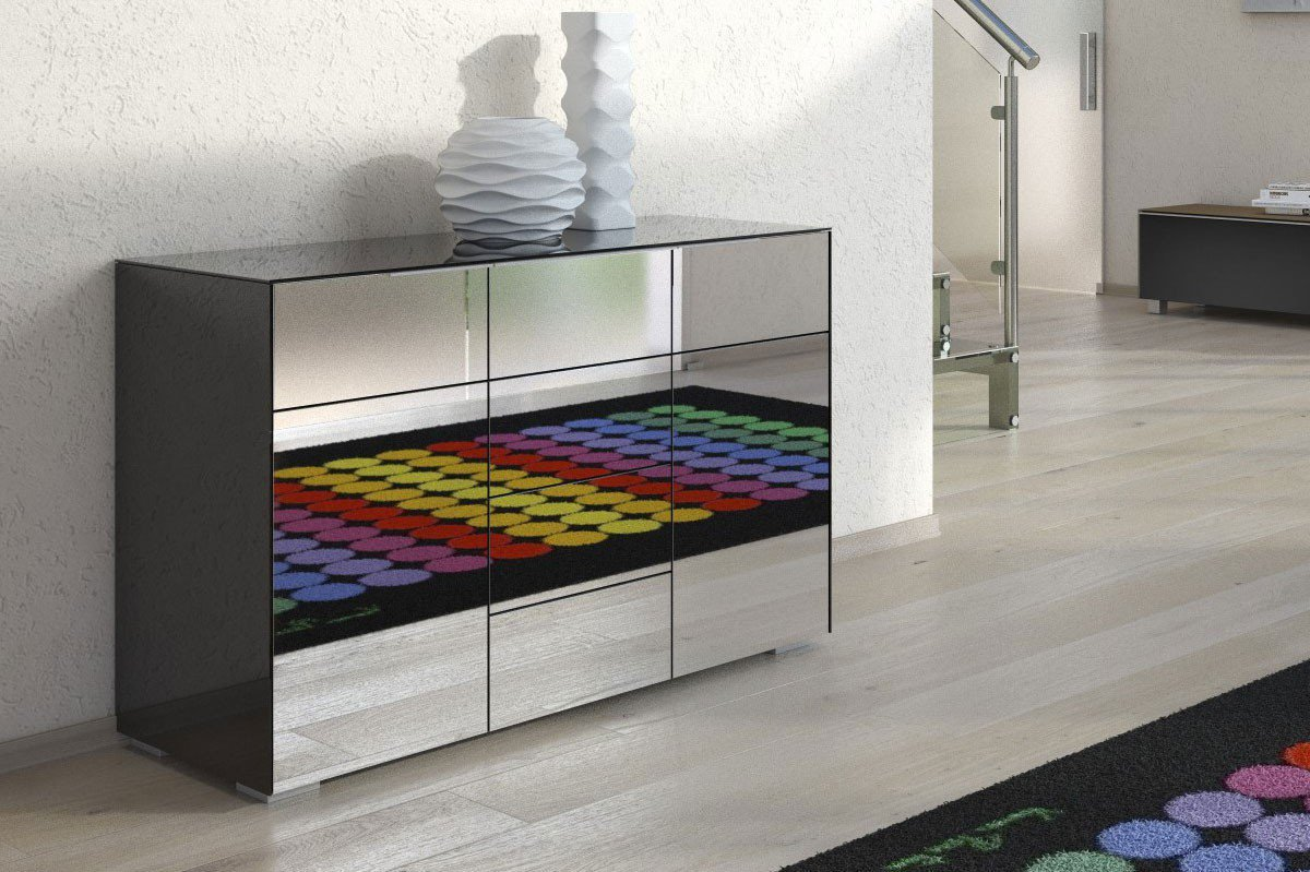 maja m bel kommode best schwarzglas grauspiegel m bel letz ihr online shop. Black Bedroom Furniture Sets. Home Design Ideas