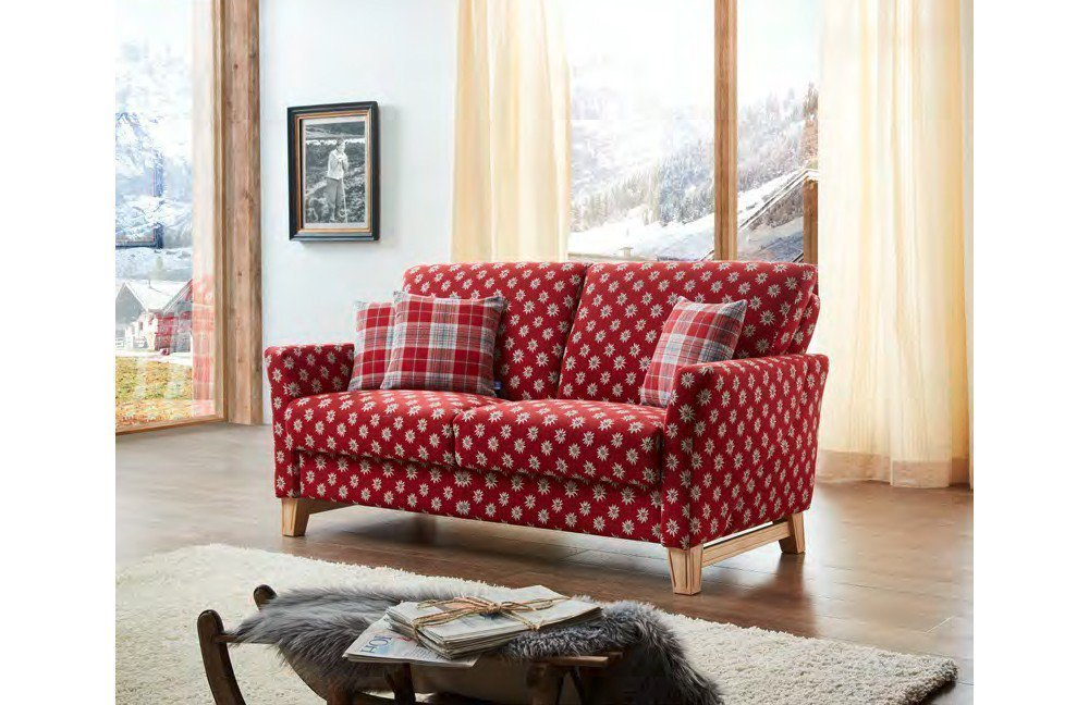 schr no lech polstersofa in rot mit muster m bel letz ihr online shop. Black Bedroom Furniture Sets. Home Design Ideas