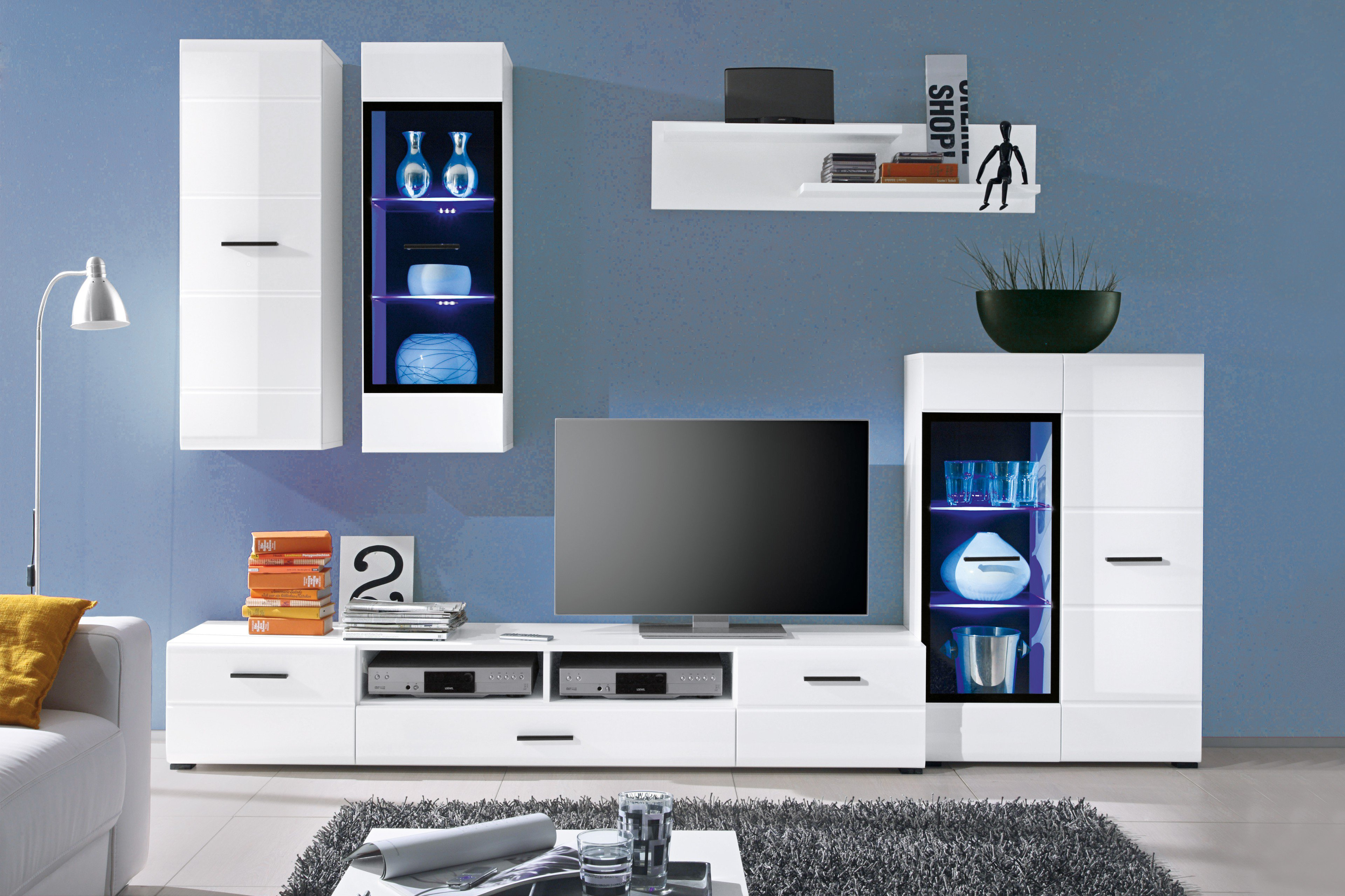 Hbz Meble Wohnwand Attac In Weiß Möbel Letz Ihr Online Shop