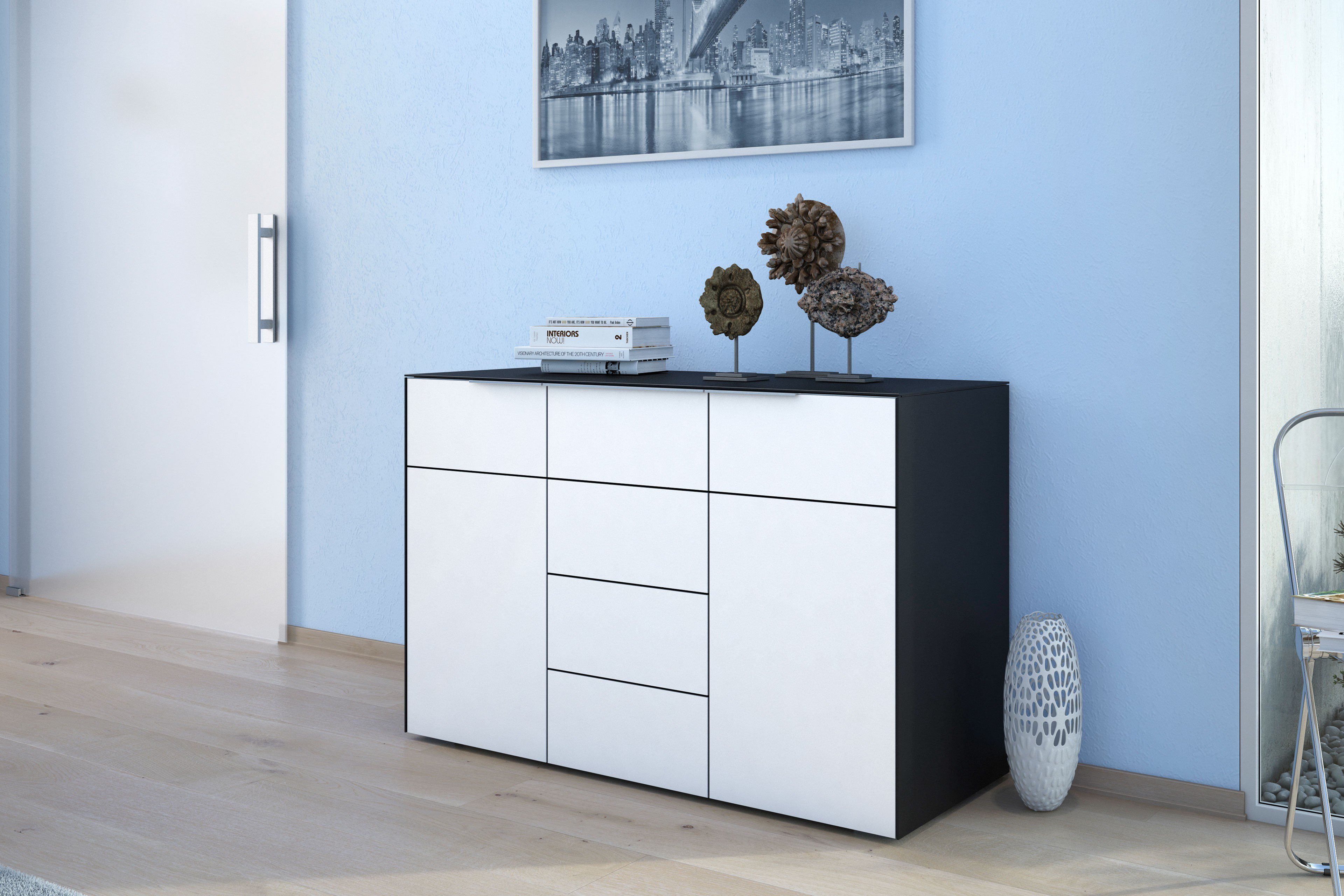 maja m bel kommode best schwarz wei glas m bel letz ihr online shop. Black Bedroom Furniture Sets. Home Design Ideas