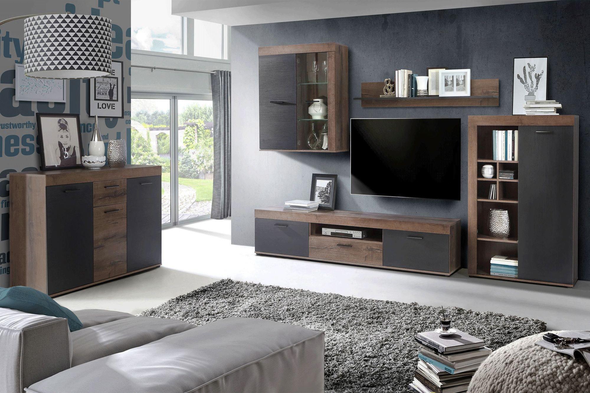 forte wohnwand valentin in schlammeiche m bel letz ihr. Black Bedroom Furniture Sets. Home Design Ideas