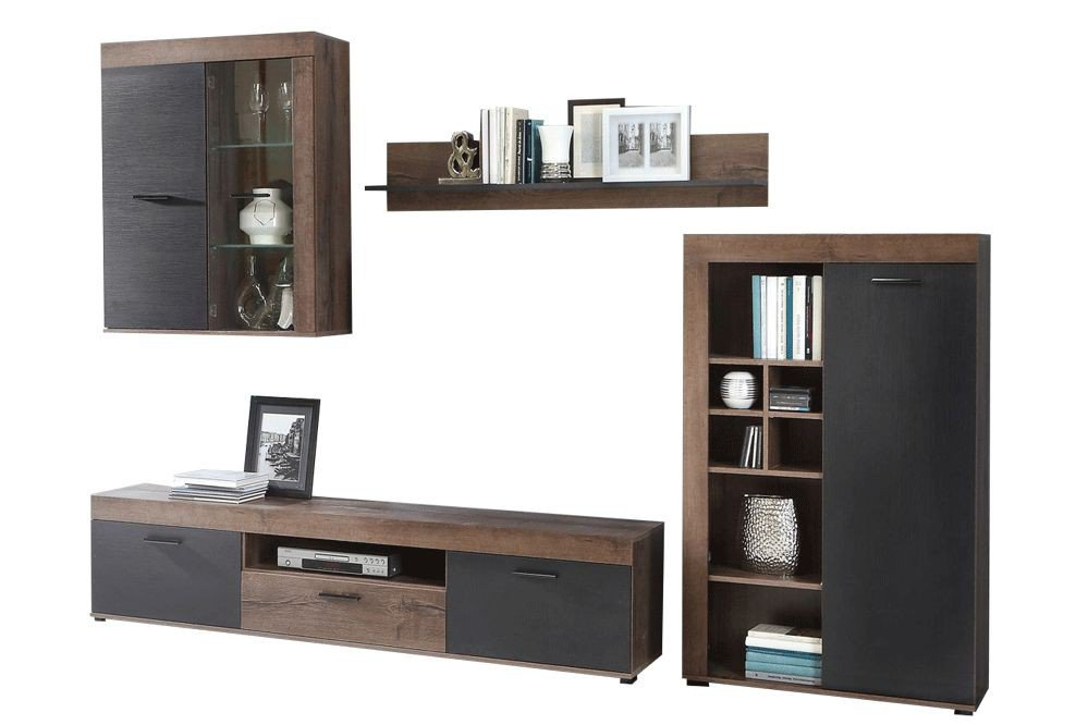 forte wohnwand valentin vtn 01lb in schlammeiche m bel letz ihr online shop. Black Bedroom Furniture Sets. Home Design Ideas