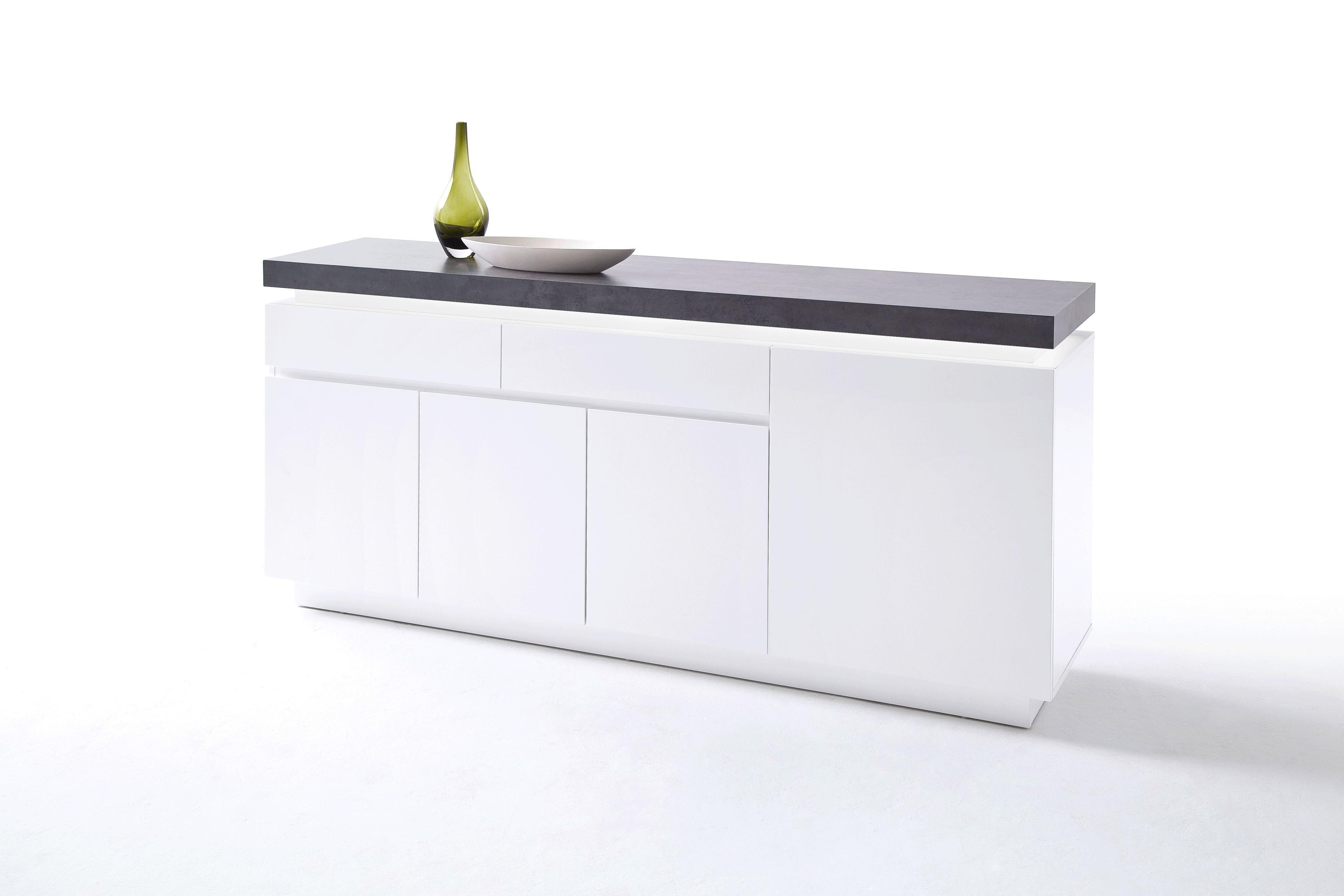 innotrend by mca jinny sideboard in wei lackiert beton. Black Bedroom Furniture Sets. Home Design Ideas