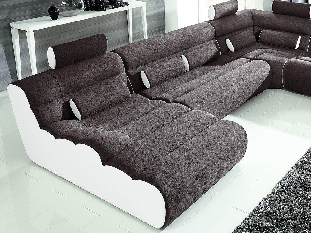 New Look Möbel Elements U-Sofa Anthrazit-weiß