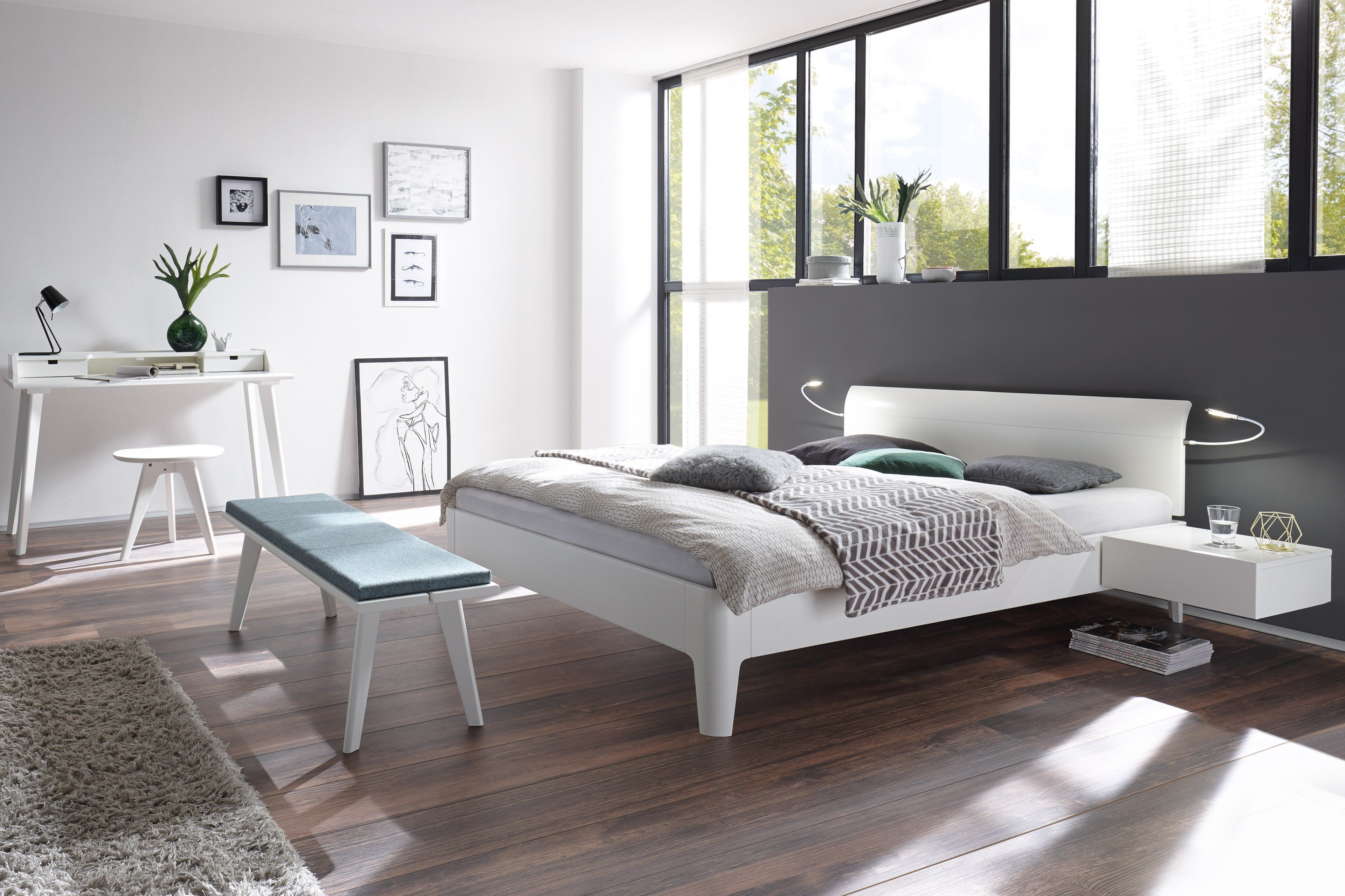Hasena Fine-Line Bett Buche weiß lackiert | Möbel Letz - Ihr Online-Shop
