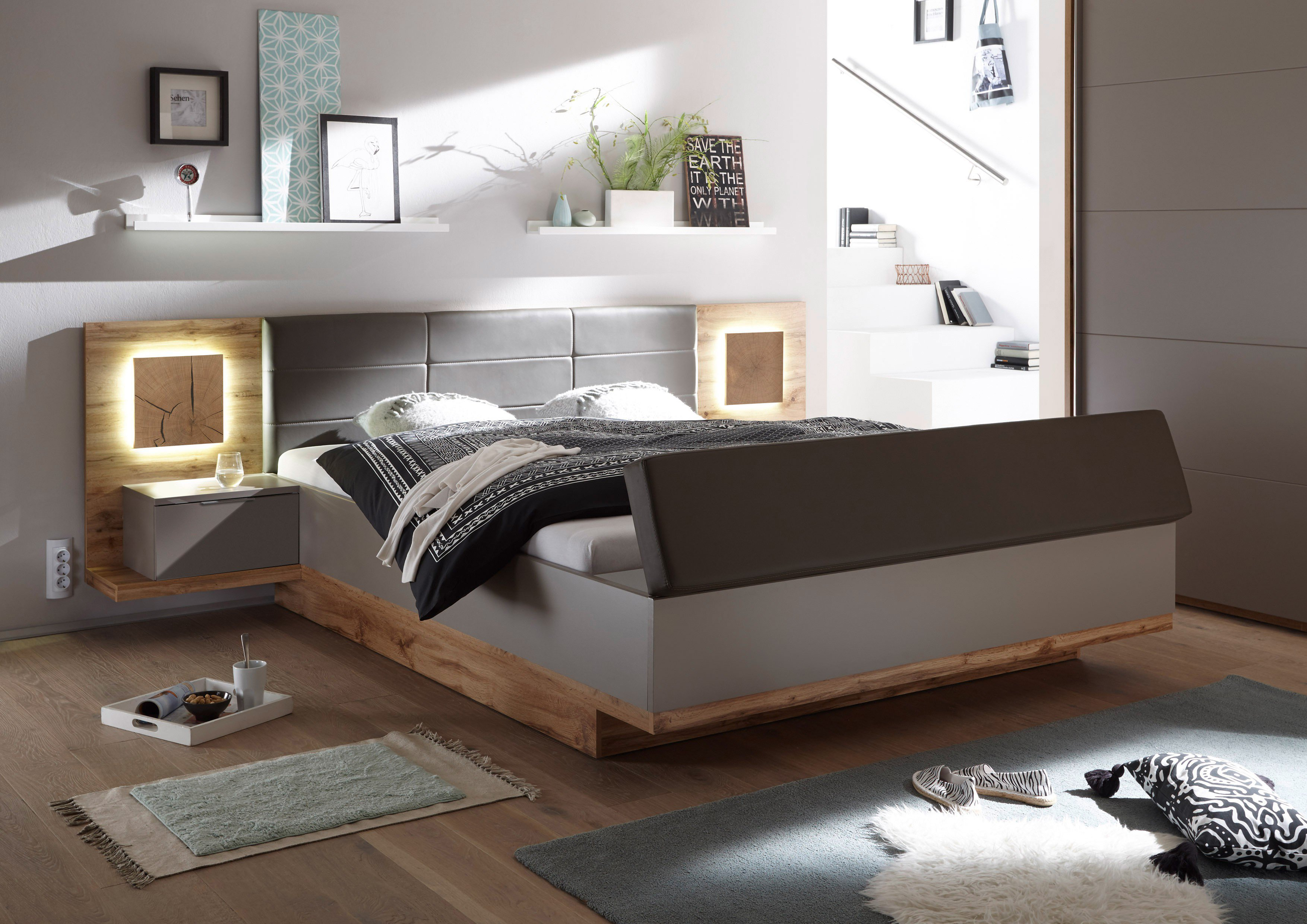 capri xl bett mit fu bank wildeiche nachbildung basalt m bel letz ihr online shop. Black Bedroom Furniture Sets. Home Design Ideas