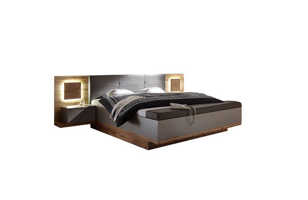 Capri XL Bett mit Fußbank Wildeiche Nachbildung - basalt | Möbel ...
