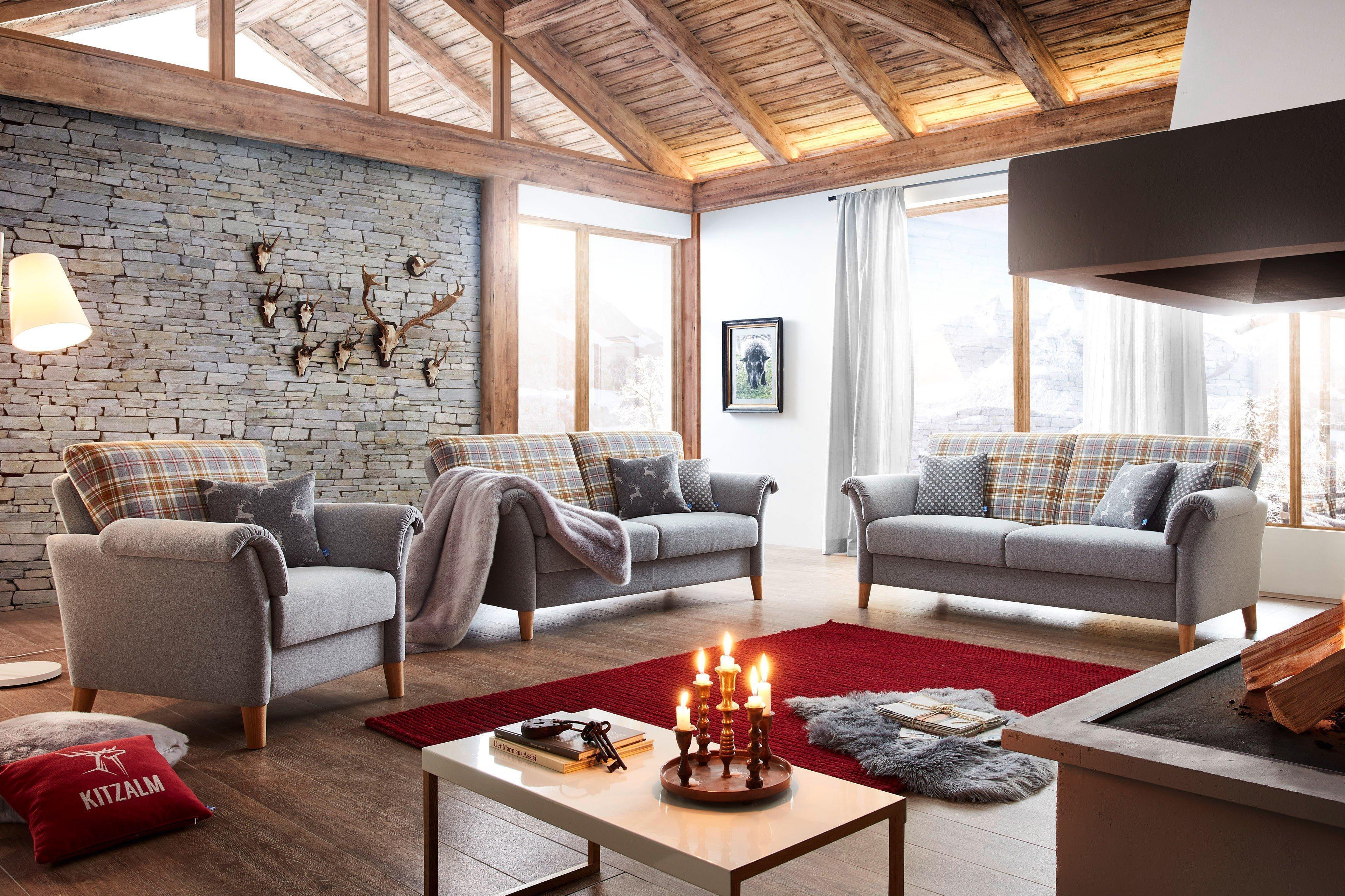 schr no s lden sofagruppe hellgrau gelb kariert m bel letz ihr online shop. Black Bedroom Furniture Sets. Home Design Ideas