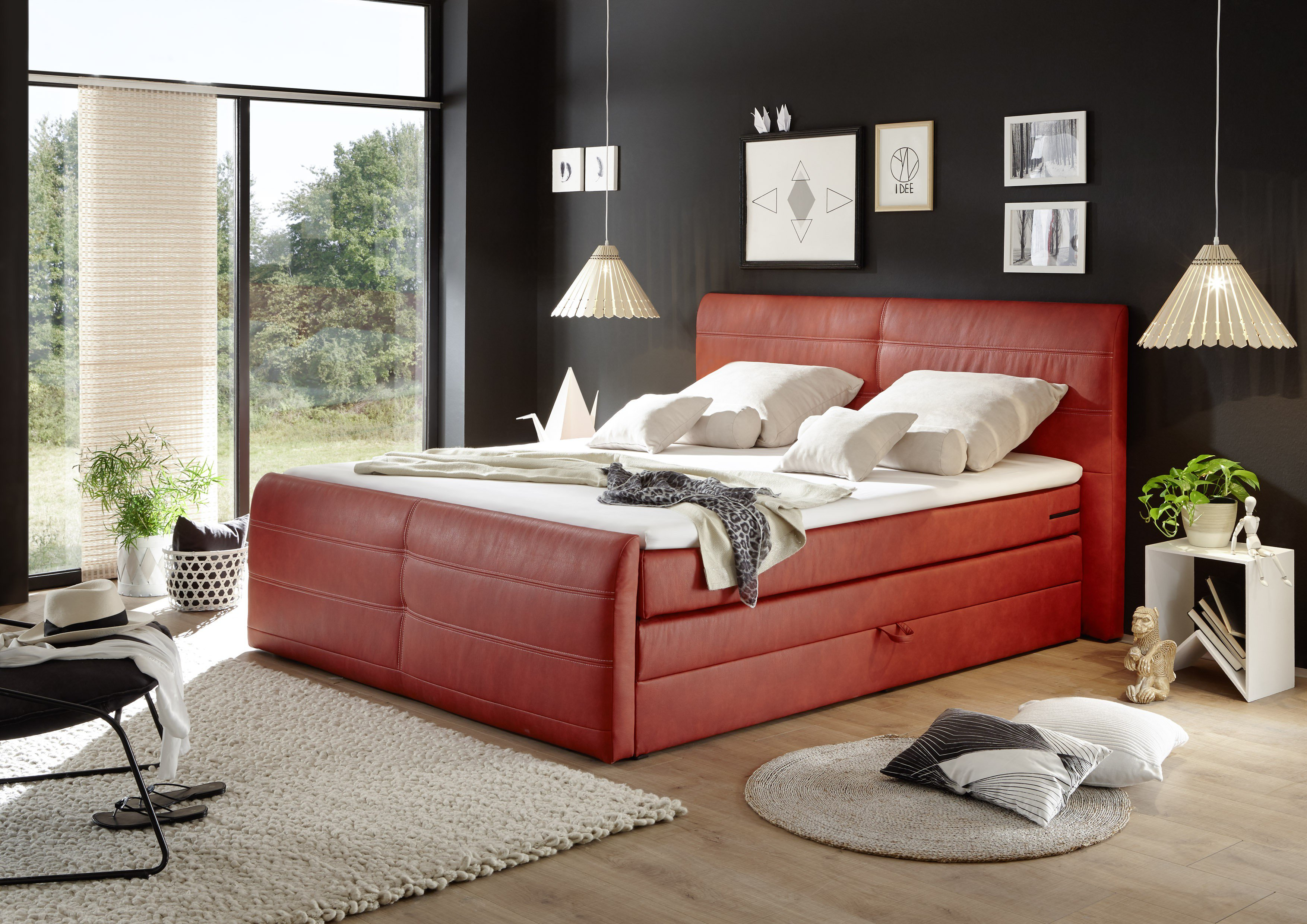 black red white austin boxspringbett in orange m bel letz ihr online shop. Black Bedroom Furniture Sets. Home Design Ideas