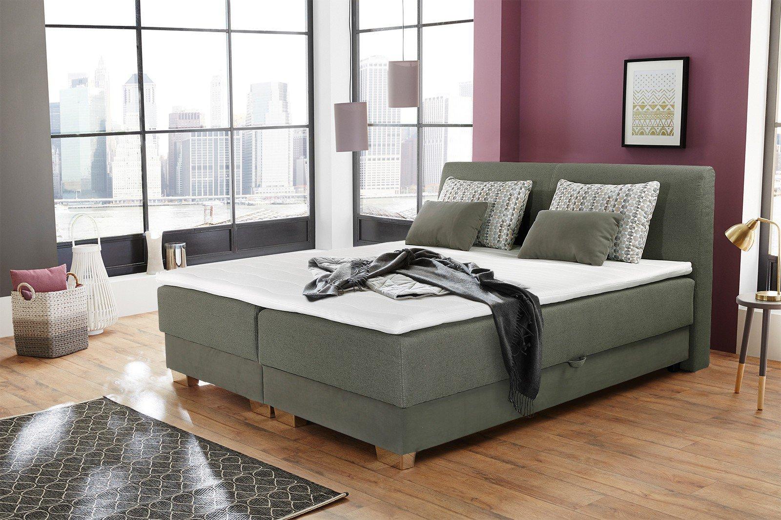 jockenh fer julie boxspringbett grau gr n mit bettkasten m bel letz ihr online shop. Black Bedroom Furniture Sets. Home Design Ideas