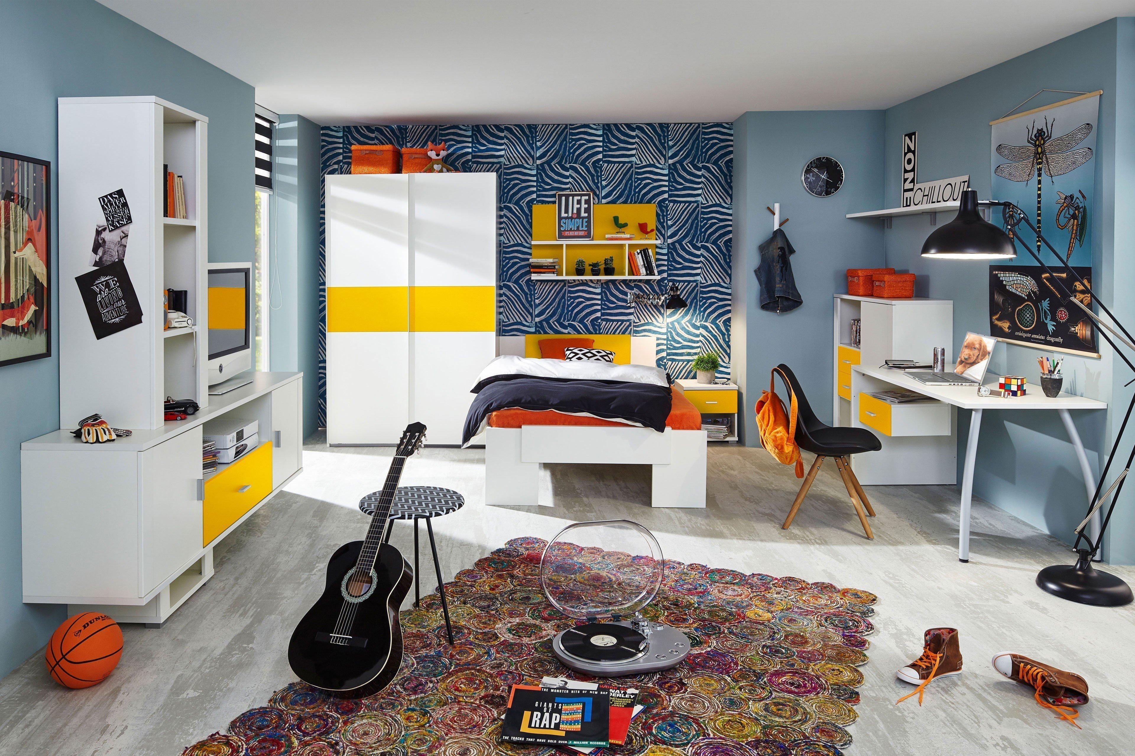 Jugendzimmermöbel weiß  Prenneis Jugendzimmer Dustin Plus weiß - gelb | Möbel Letz - Ihr ...