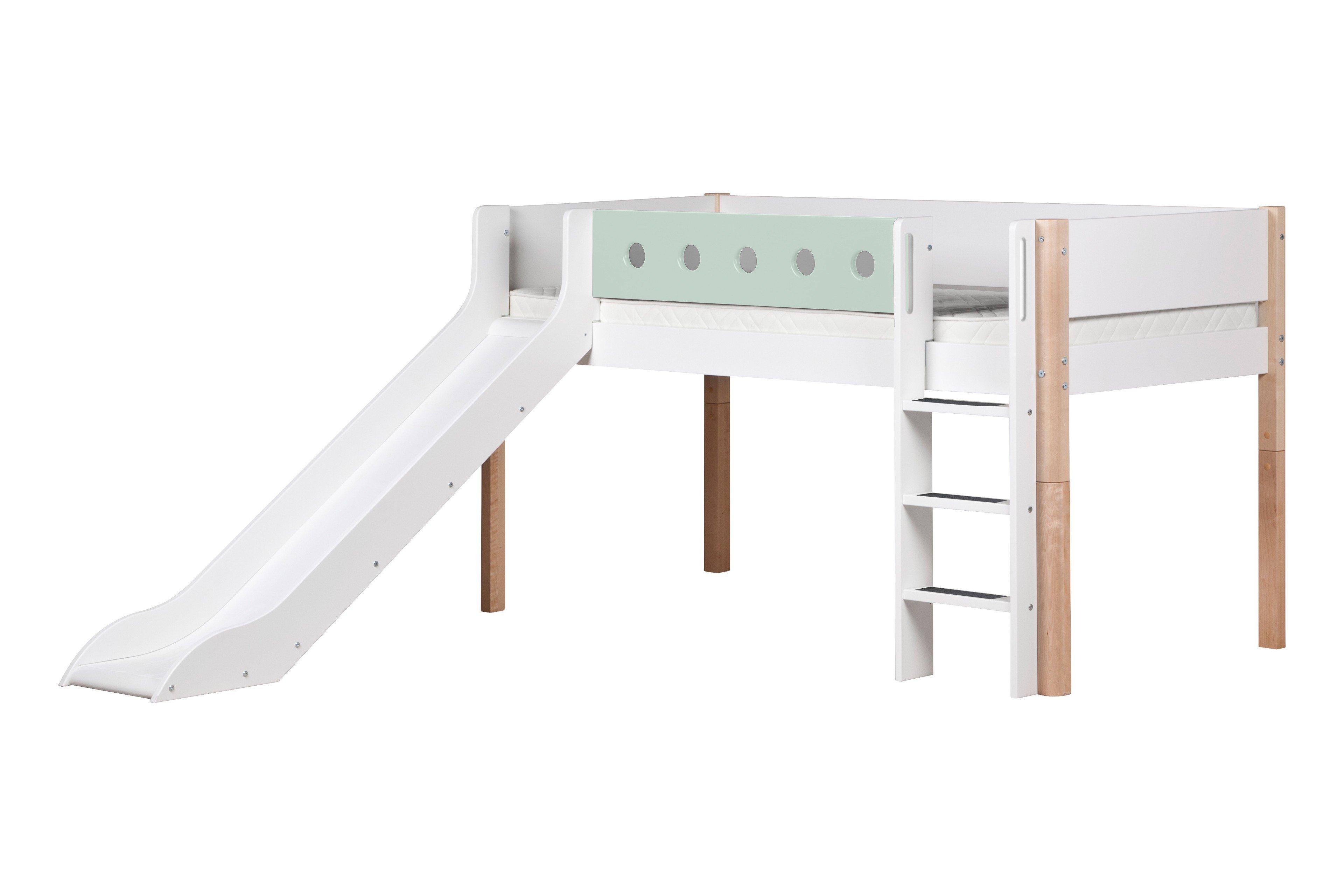 white bett mit rutsche von flexa wei mint m bel letz. Black Bedroom Furniture Sets. Home Design Ideas
