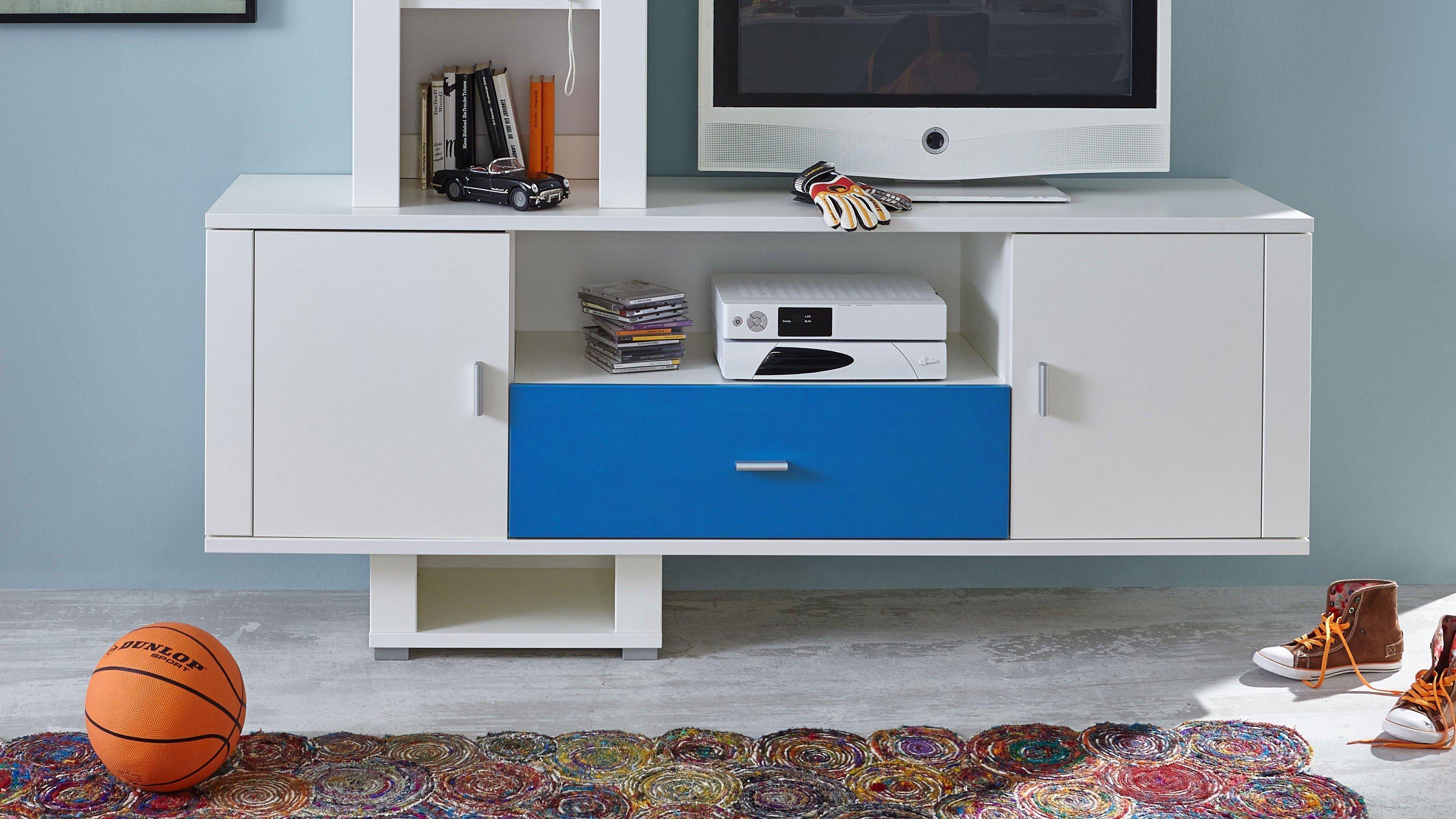 Prenneis Dustin Plus TV-Regal weiß - blau | Möbel Letz - Ihr Online-Shop